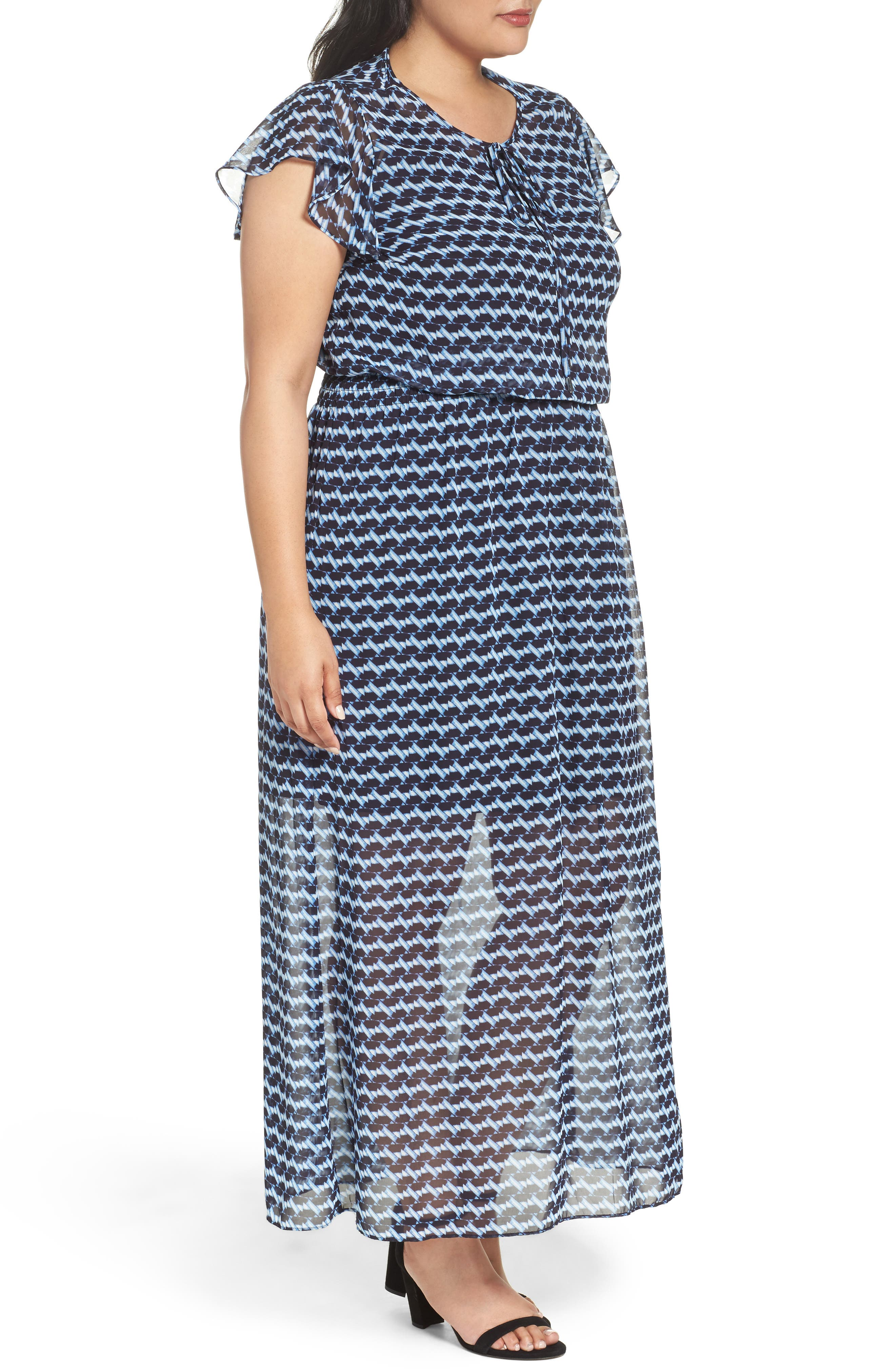 Ruffle Sleeve Chiffon Maxi Dress,                             Alternate thumbnail 3, color,                             400