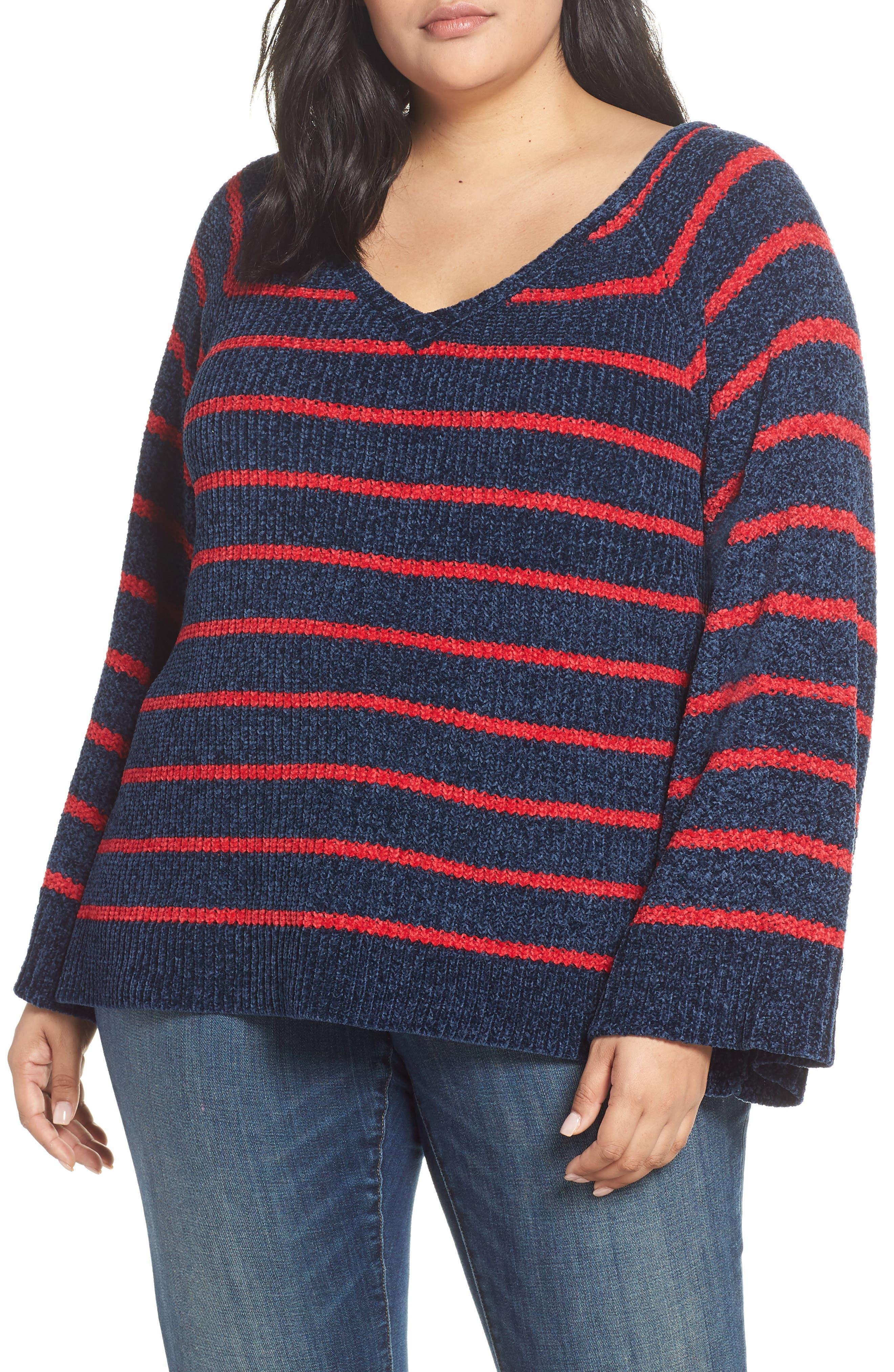 Plus Size & .layered Stripe V-Neck Sweater, Blue