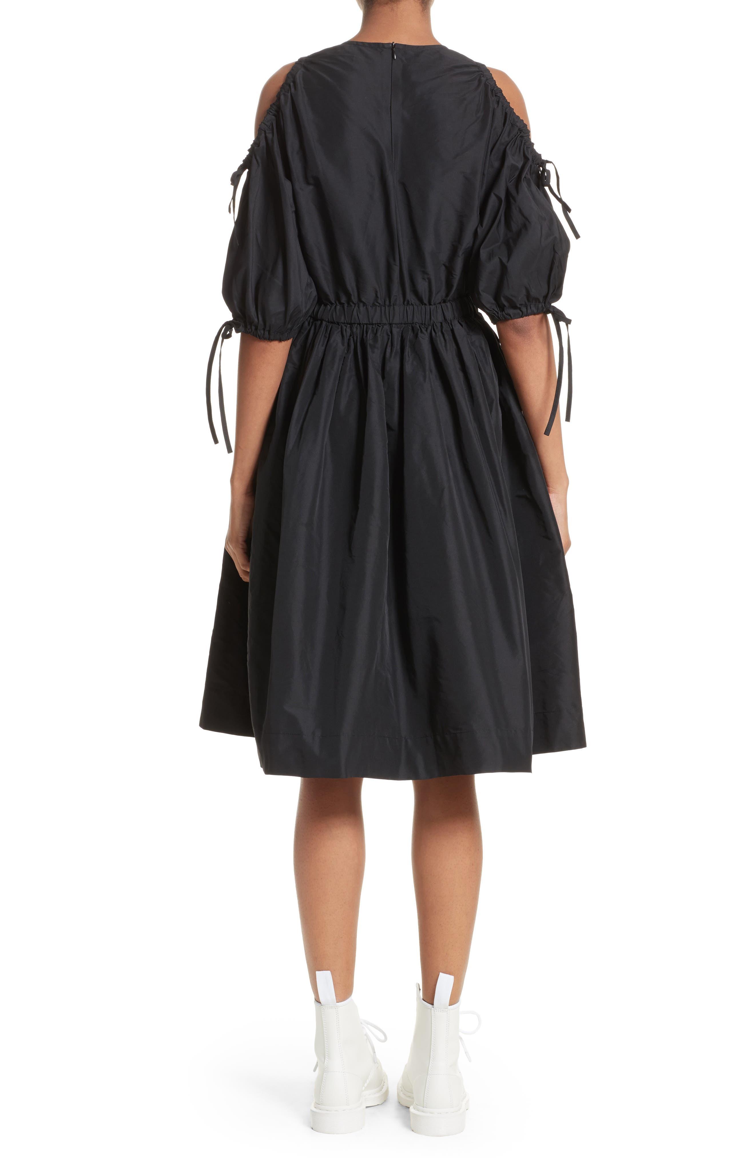 Cold Shoulder Drawstring Dress,                             Alternate thumbnail 2, color,                             001