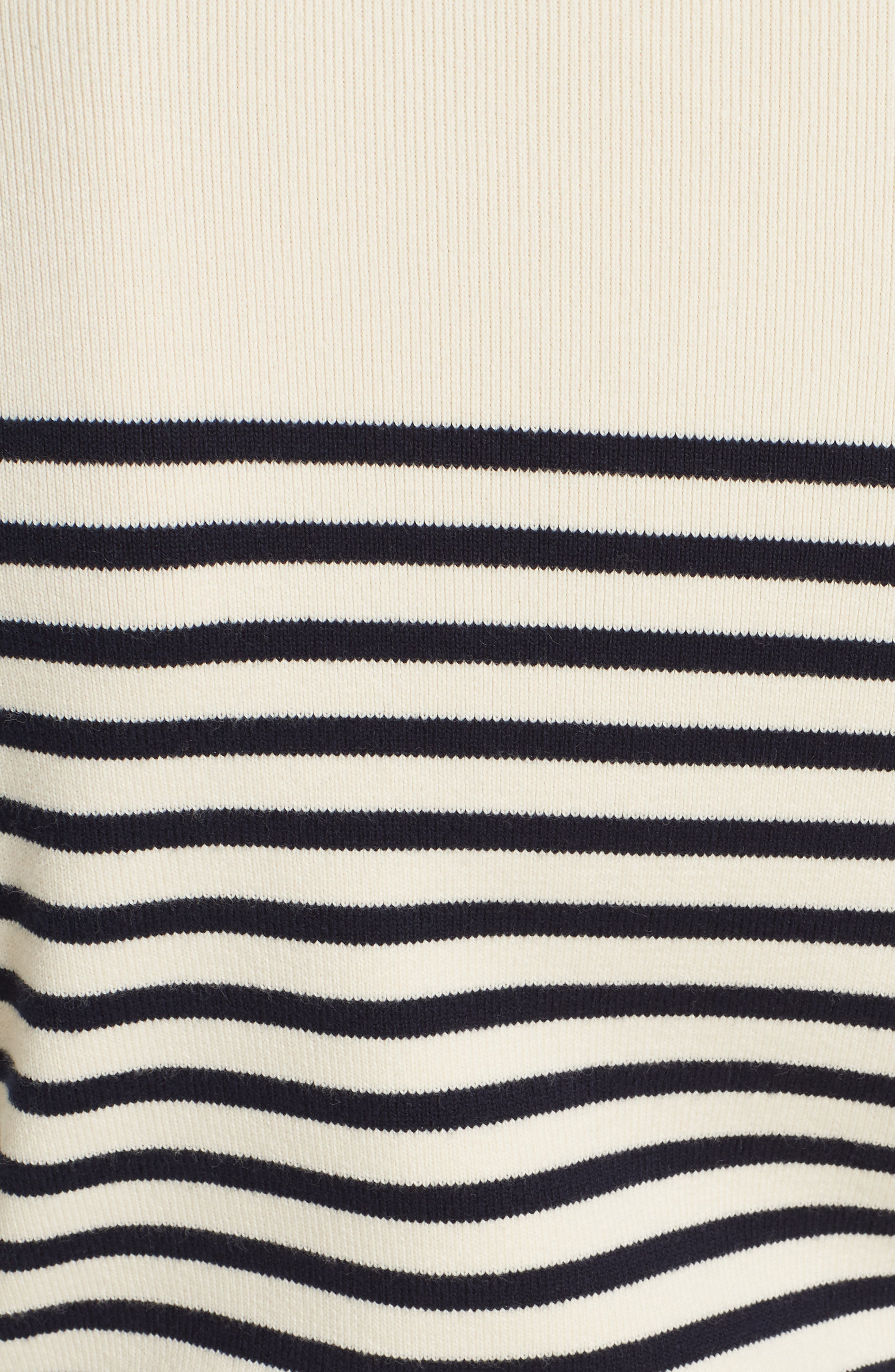 Classique Stripe Sweater,                             Alternate thumbnail 5, color,                             CREAM/ NAVY STRIPES