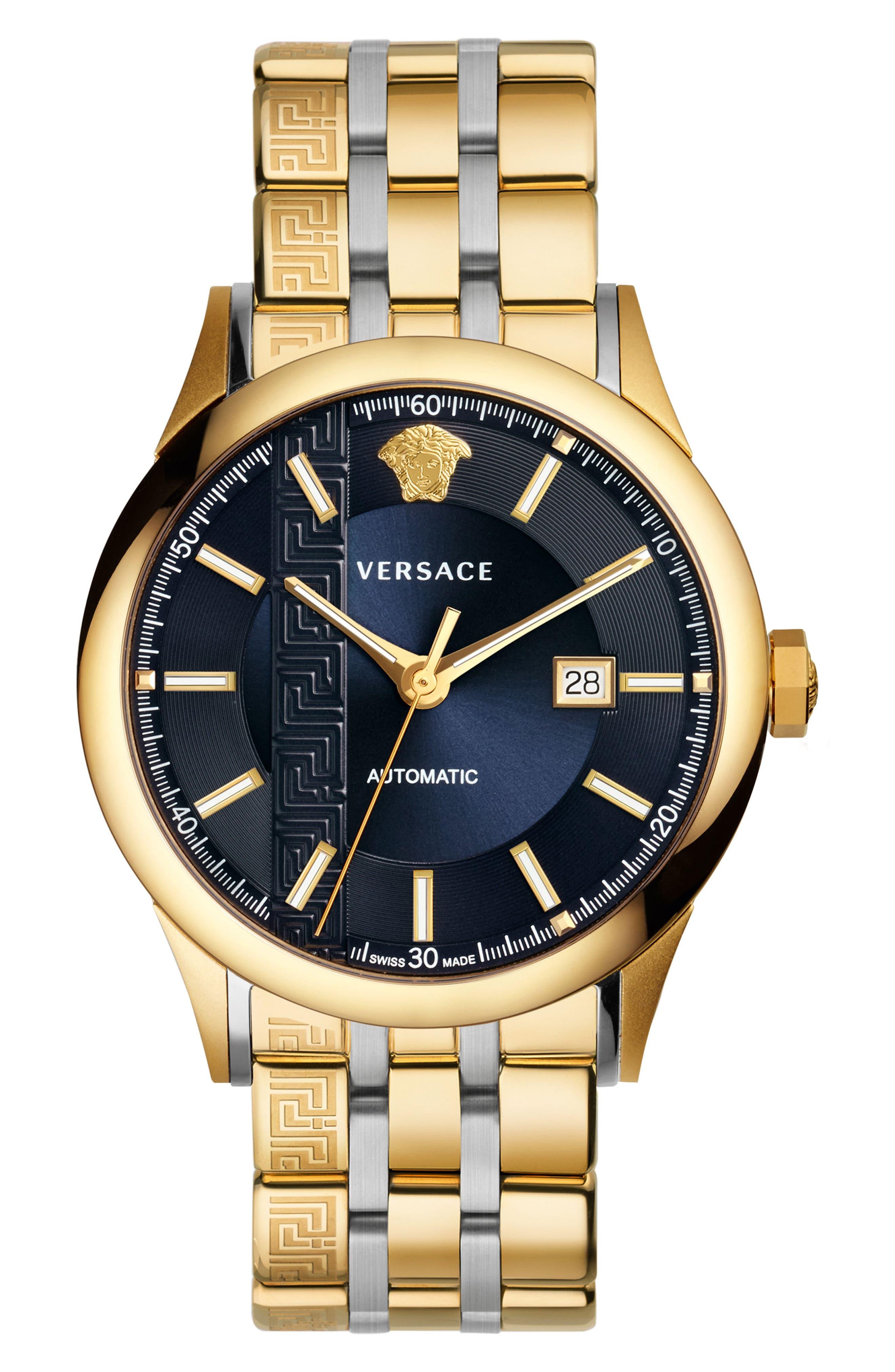Aiakos Automatic Bracelet Watch, 44mm,                             Main thumbnail 1, color,                             GOLD/ BLUE/ GOLD