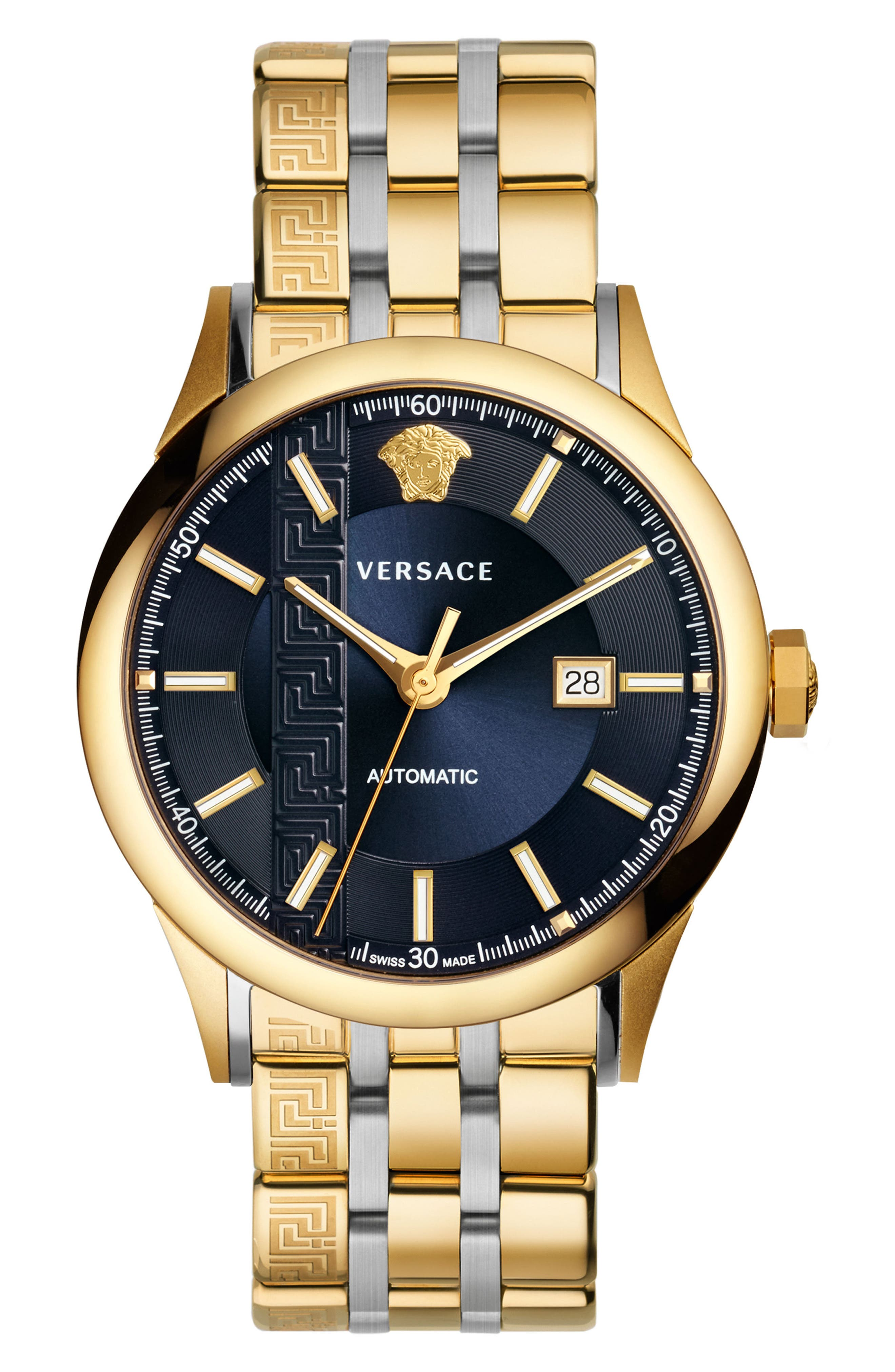 Aiakos Automatic Bracelet Watch, 44mm,                         Main,                         color, GOLD/ BLUE/ GOLD