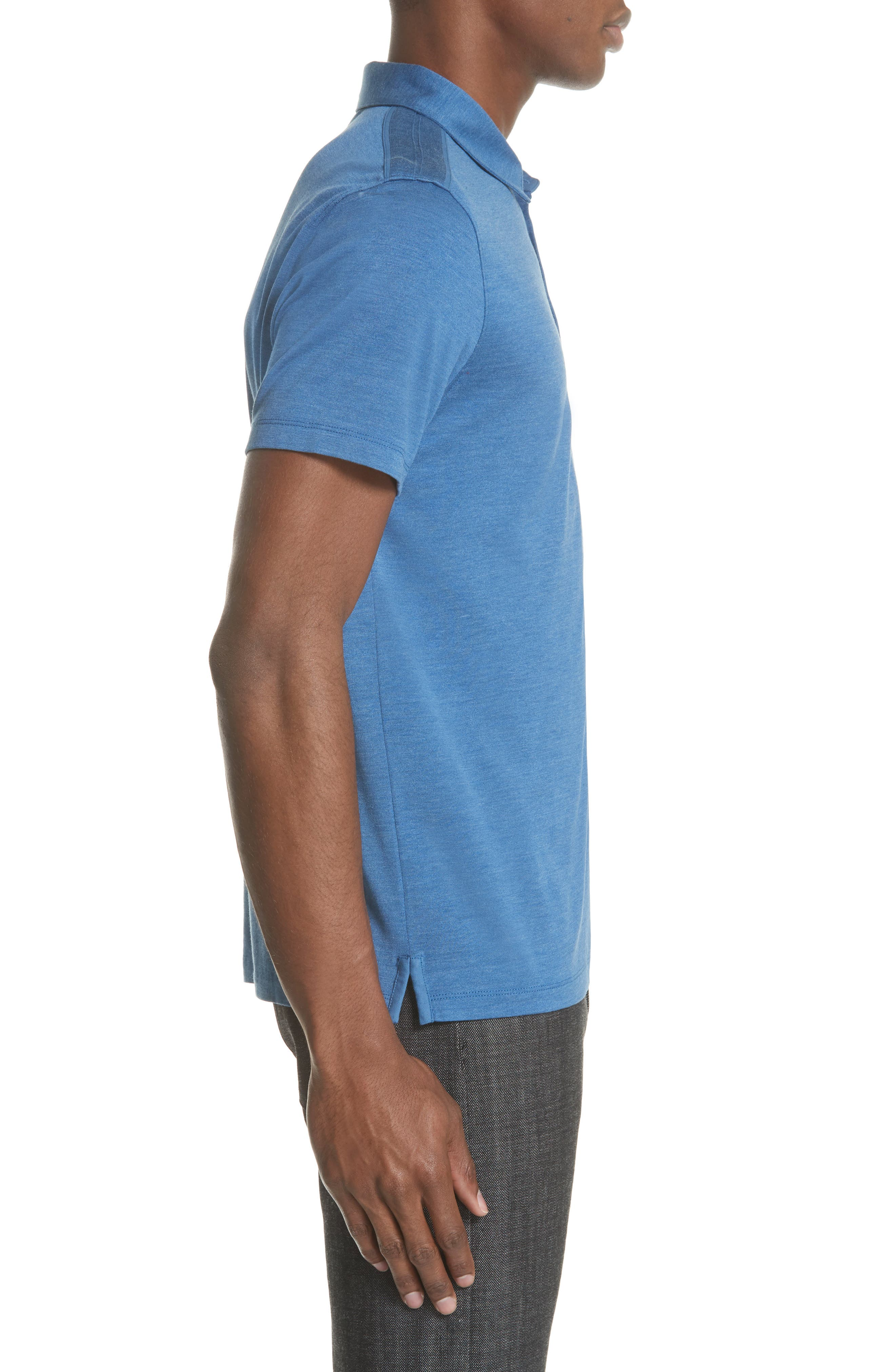 Hampton Silk Blend Jersey Polo,                             Alternate thumbnail 3, color,                             DUTCH BLUE