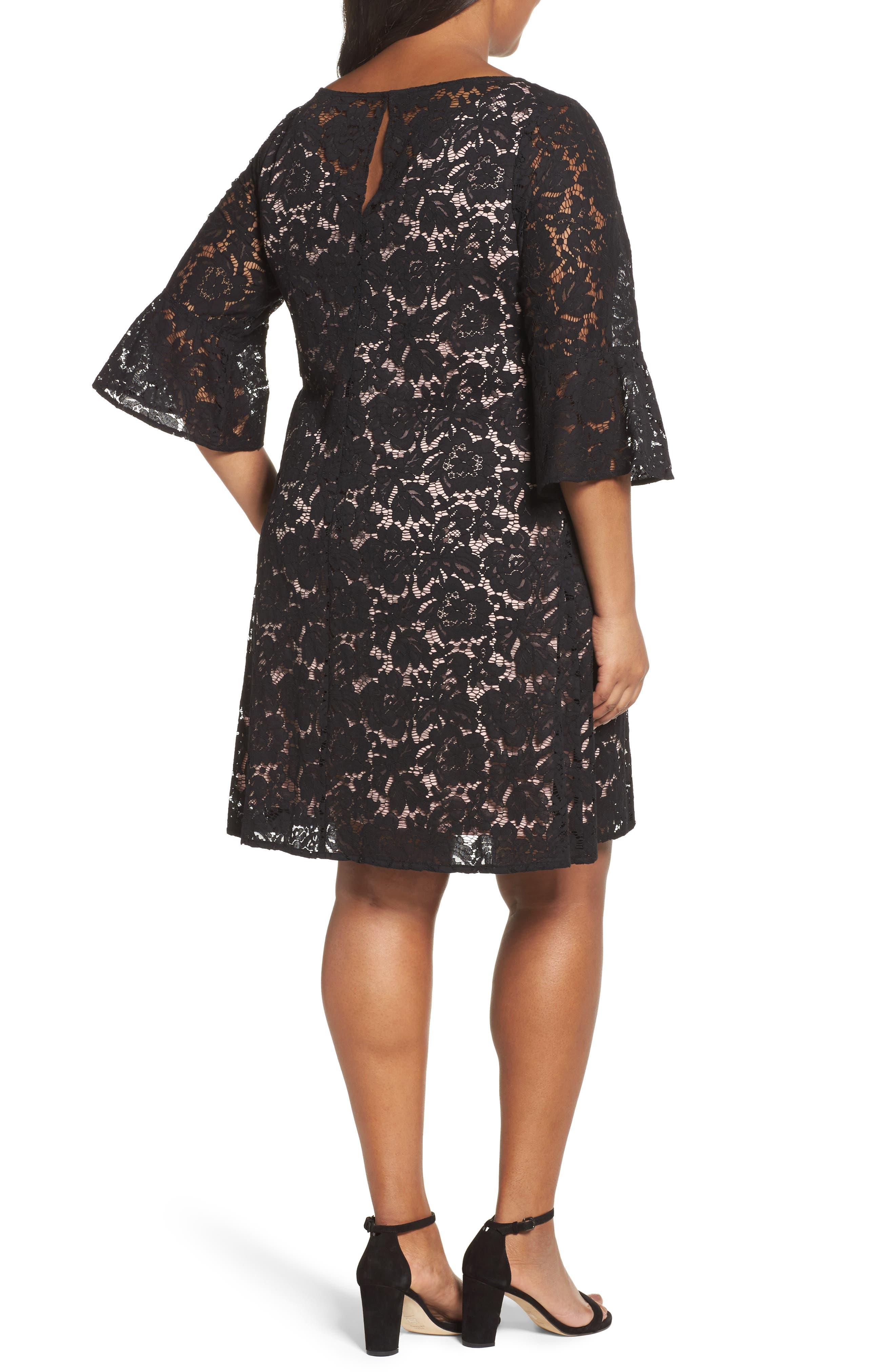 Lace A-Line Dress,                             Alternate thumbnail 2, color,                             001