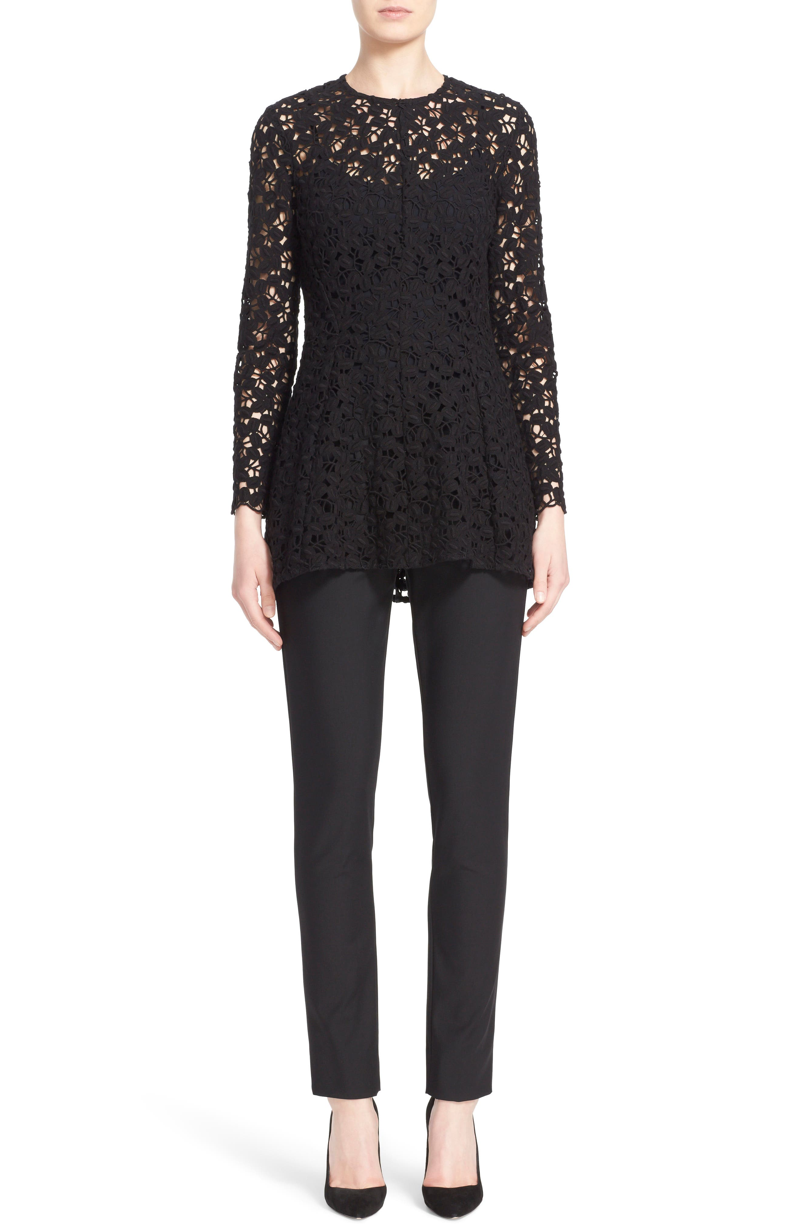 LELA ROSE 'Catherine' Stretch Twill Ankle Pants, Main, color, BLACK