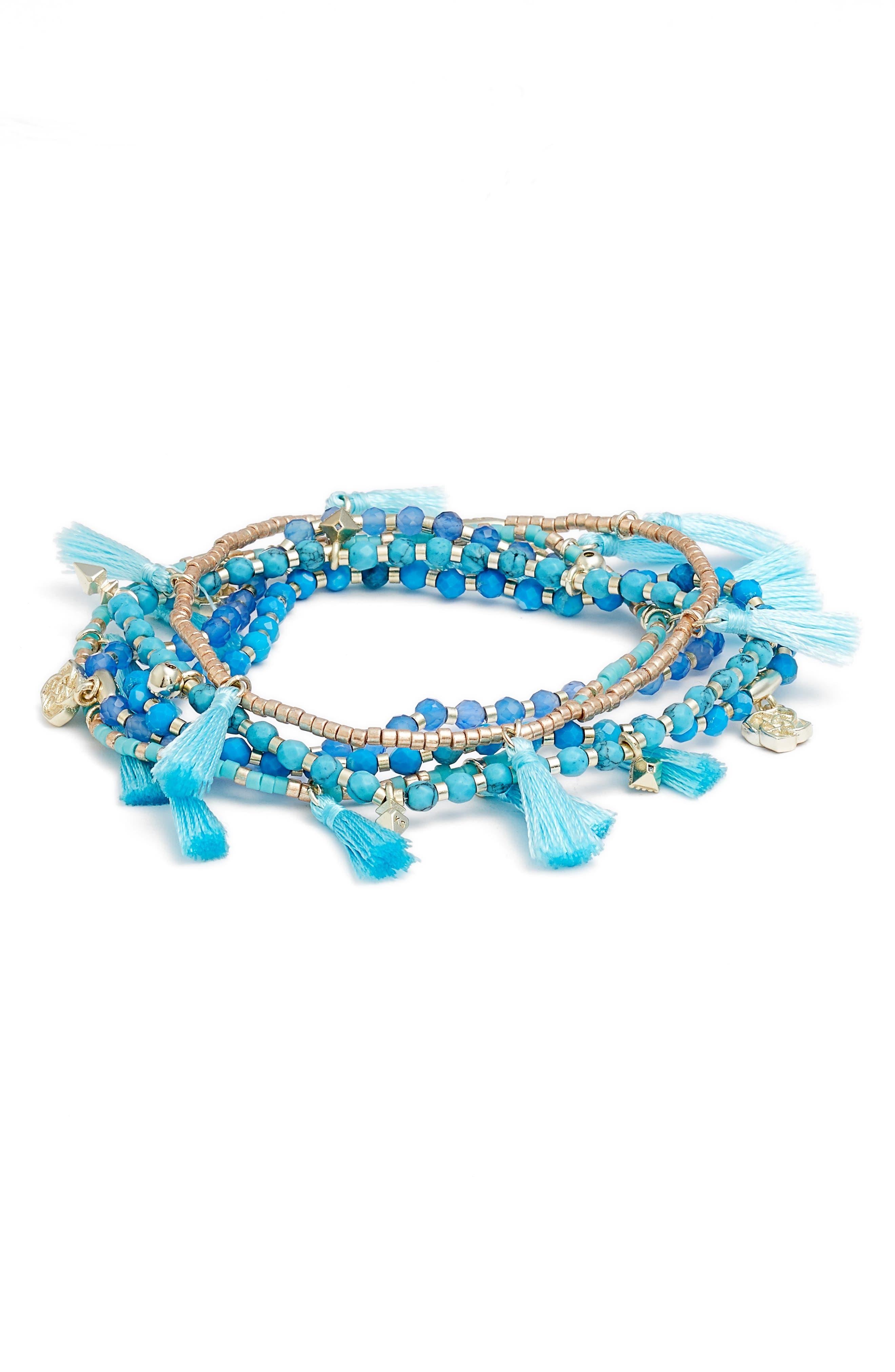 Julie Tassel Bracelet,                         Main,                         color, AQUA MIX/ GOLD