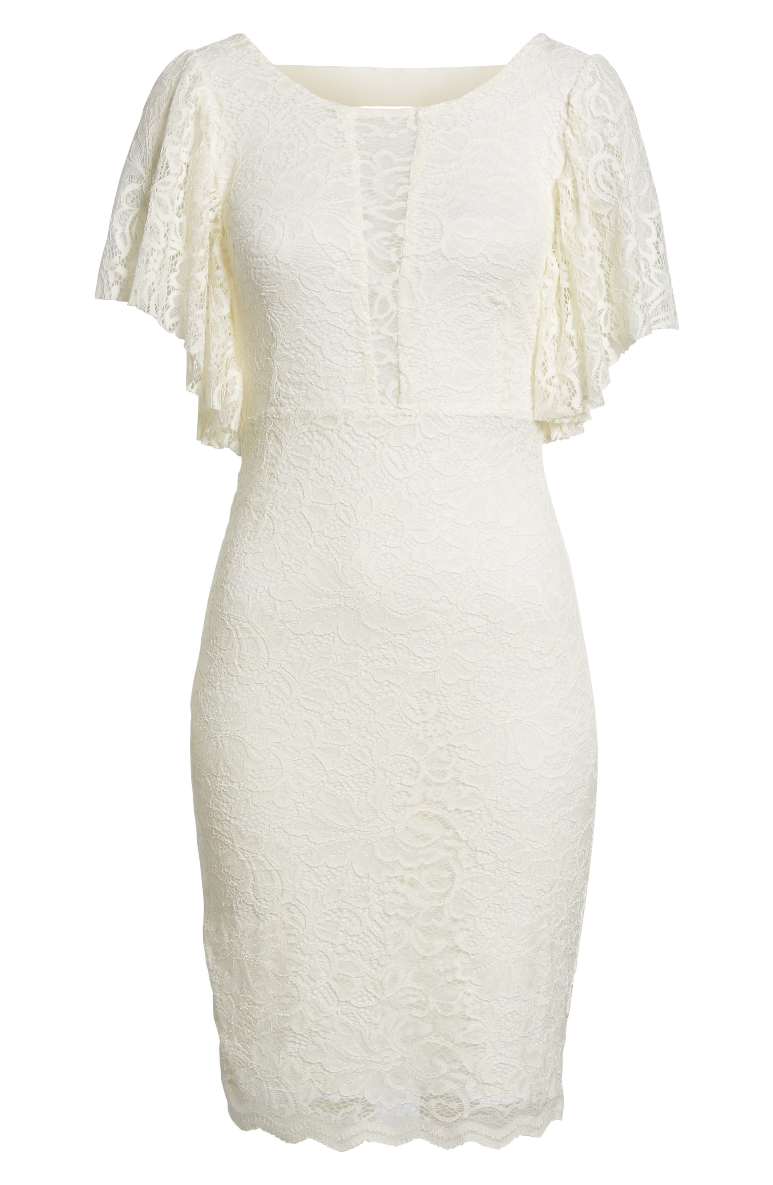 Lace Sheath Dress,                             Alternate thumbnail 6, color,                             CREAM