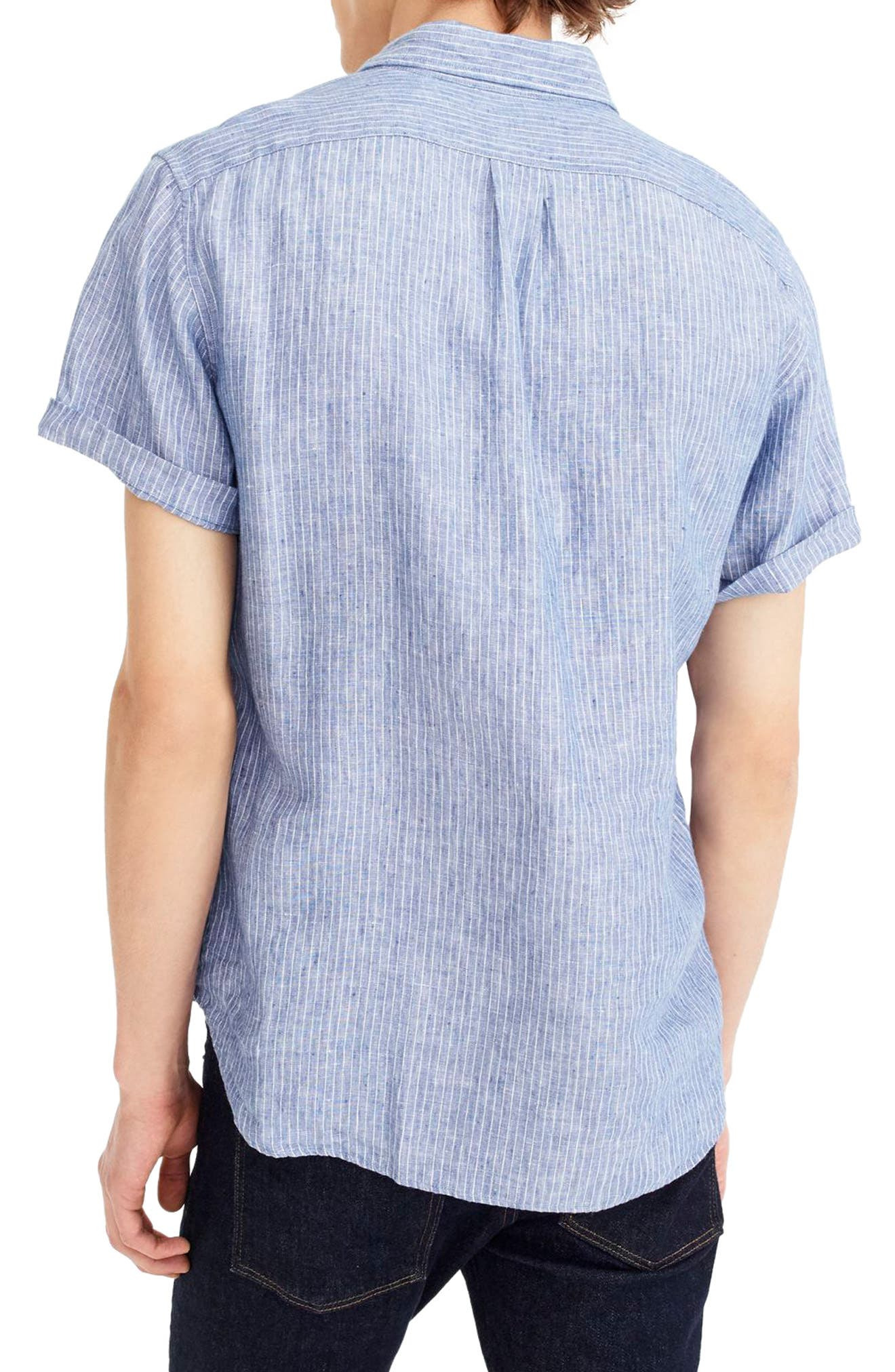 Stripe Short Sleeve Linen Shirt,                             Alternate thumbnail 2, color,                             400