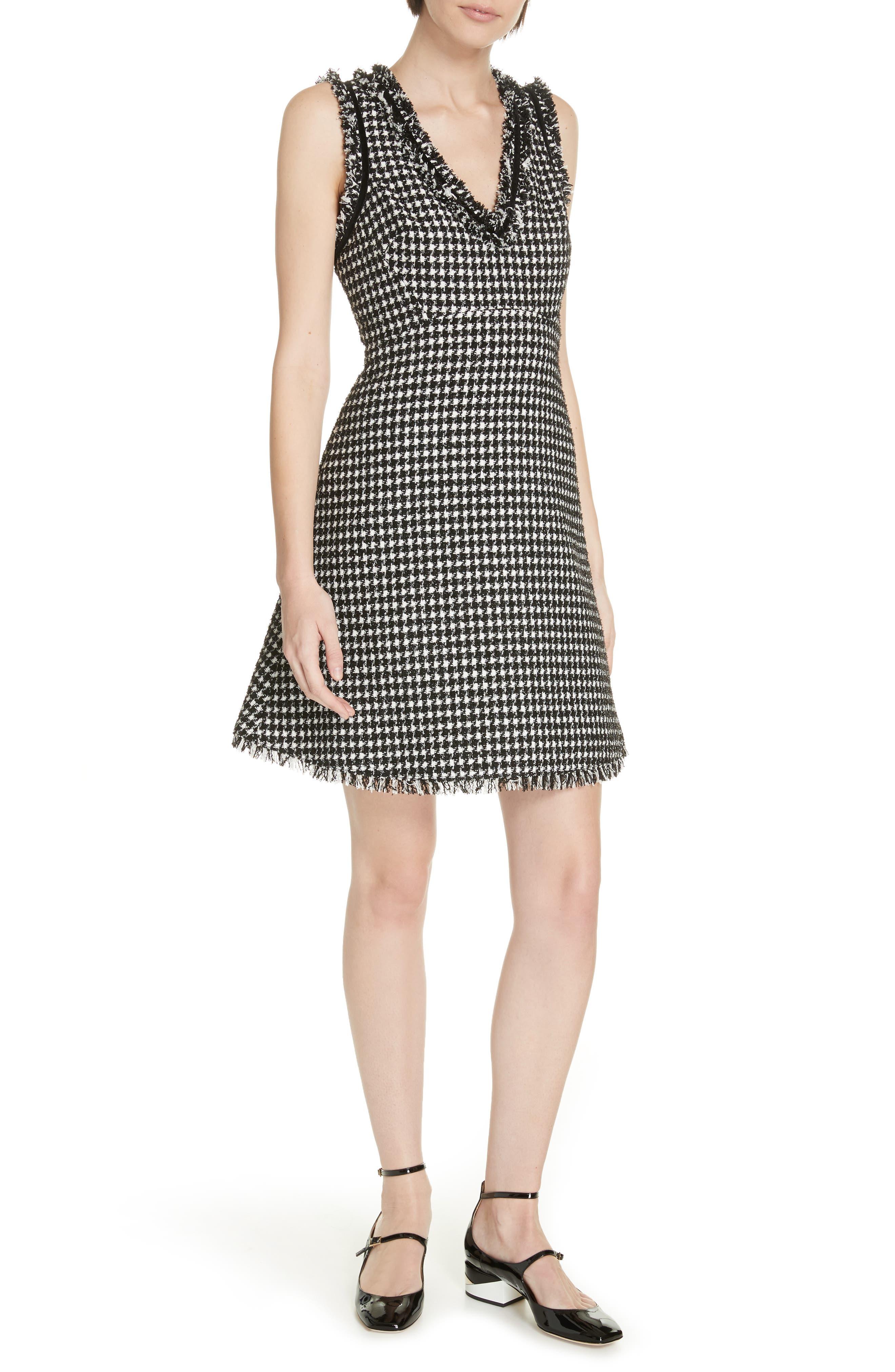 Kate Spade New York Houndstooth Tweed Dress, Black