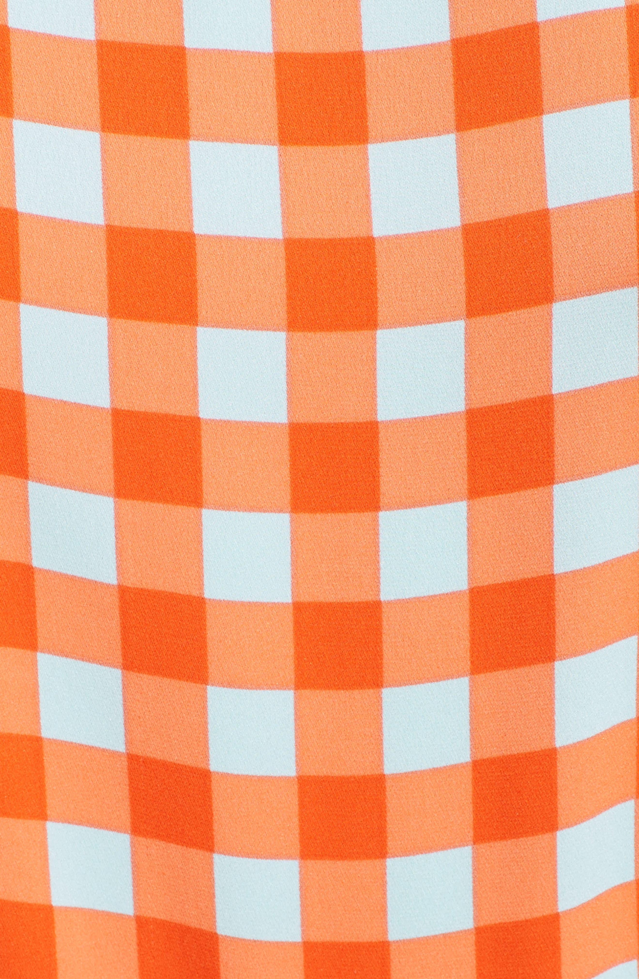 Check Ruffle Hem Wrap Dress,                             Alternate thumbnail 6, color,