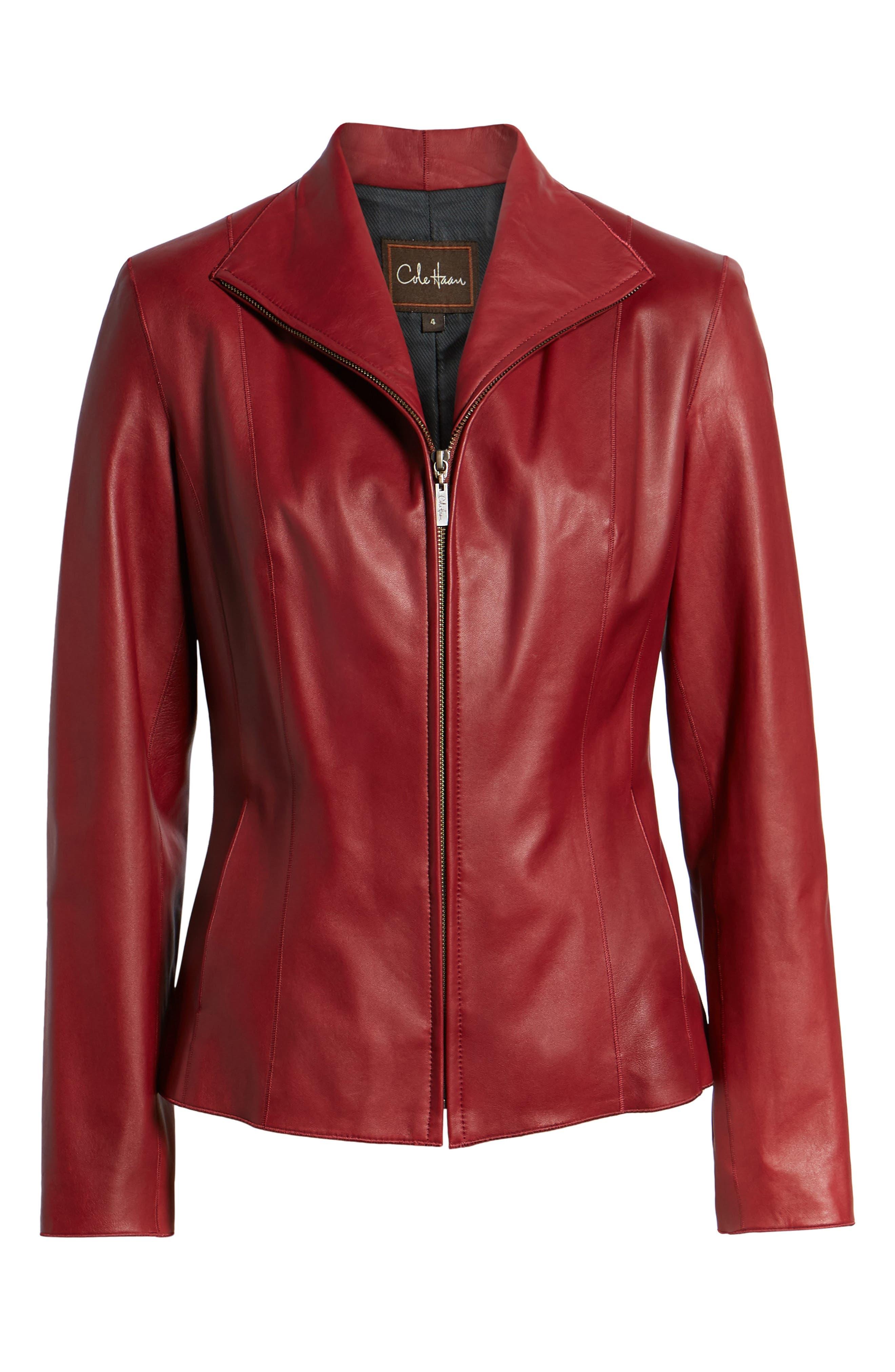 Lambskin Leather Scuba Jacket,                             Alternate thumbnail 6, color,                             RED