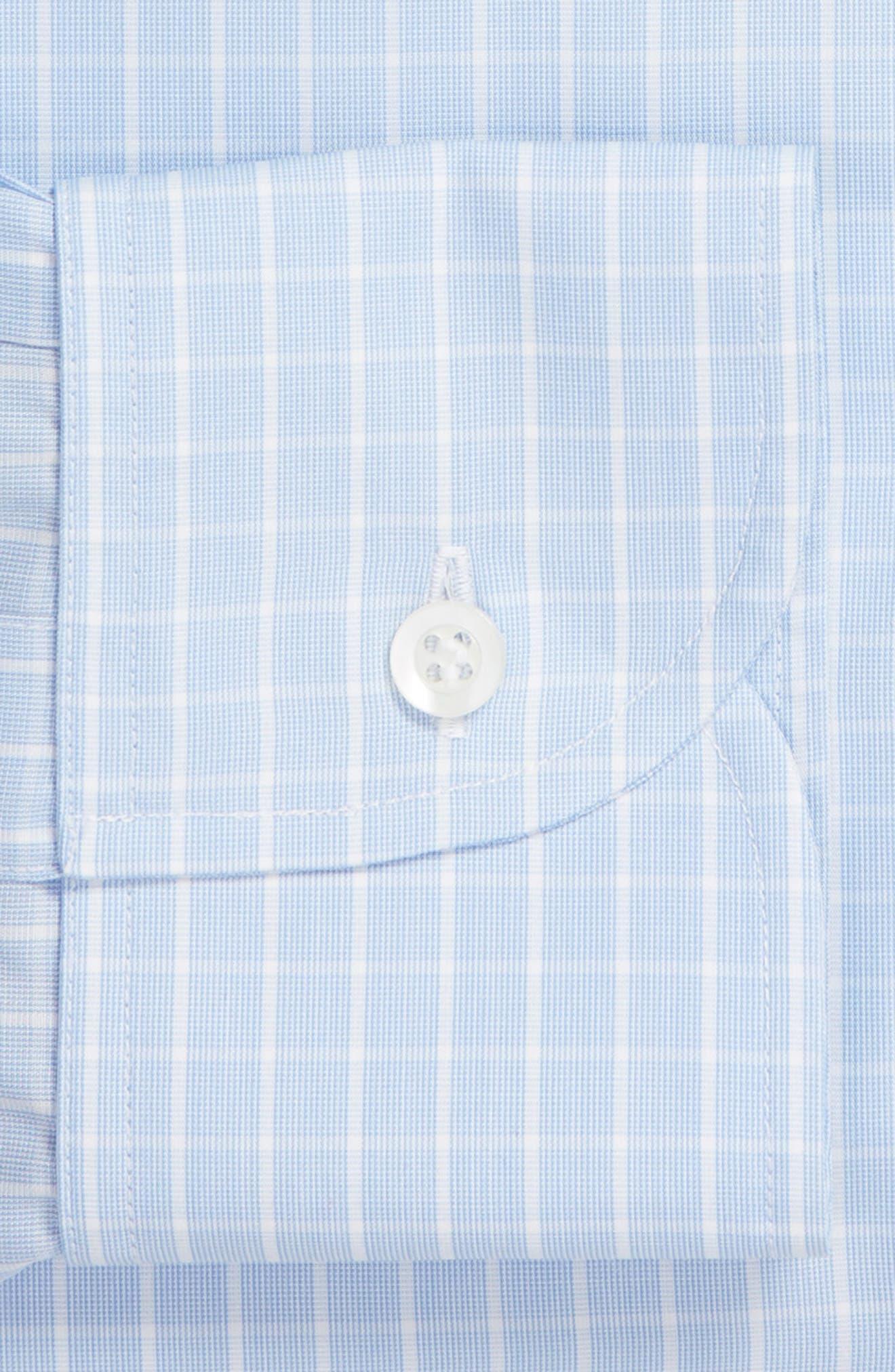 McBride Trim Fit Check Dress Shirt,                             Alternate thumbnail 6, color,                             BLUE