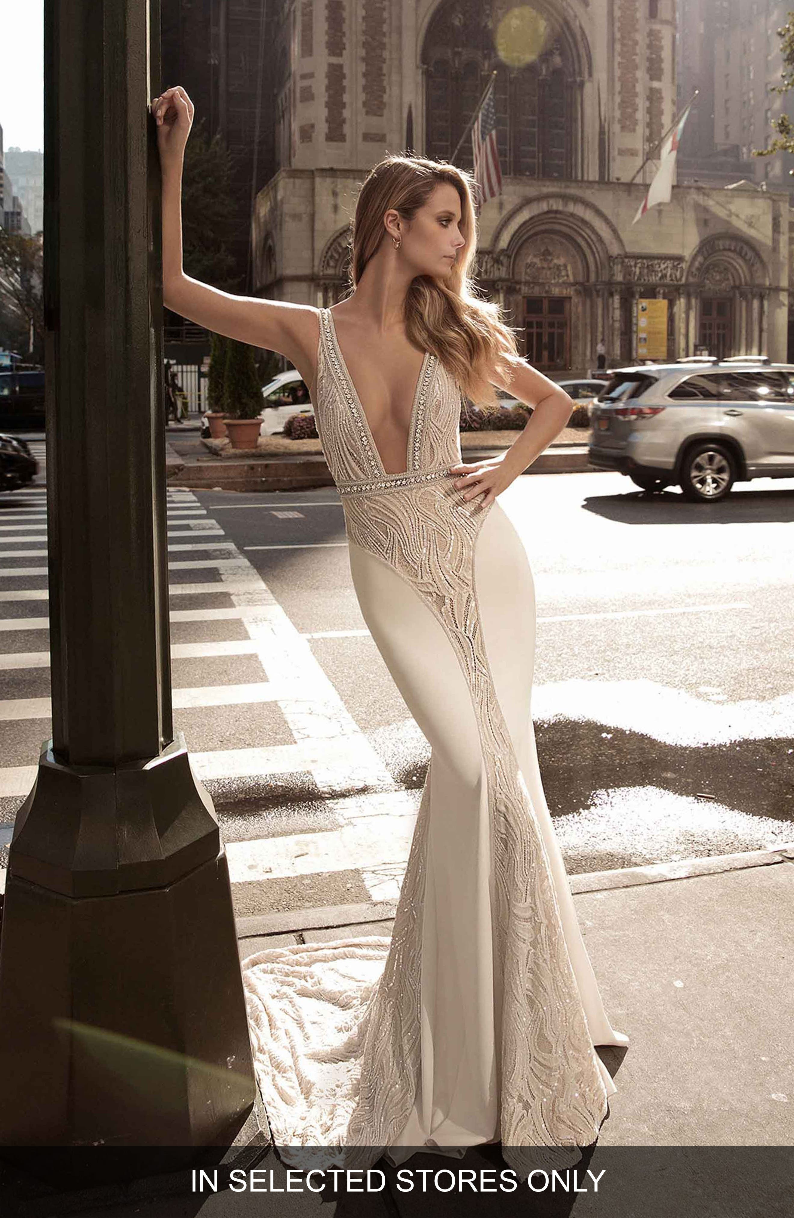 Plunge Neck Illusion Mermaid Gown,                             Main thumbnail 1, color,                             IVORY