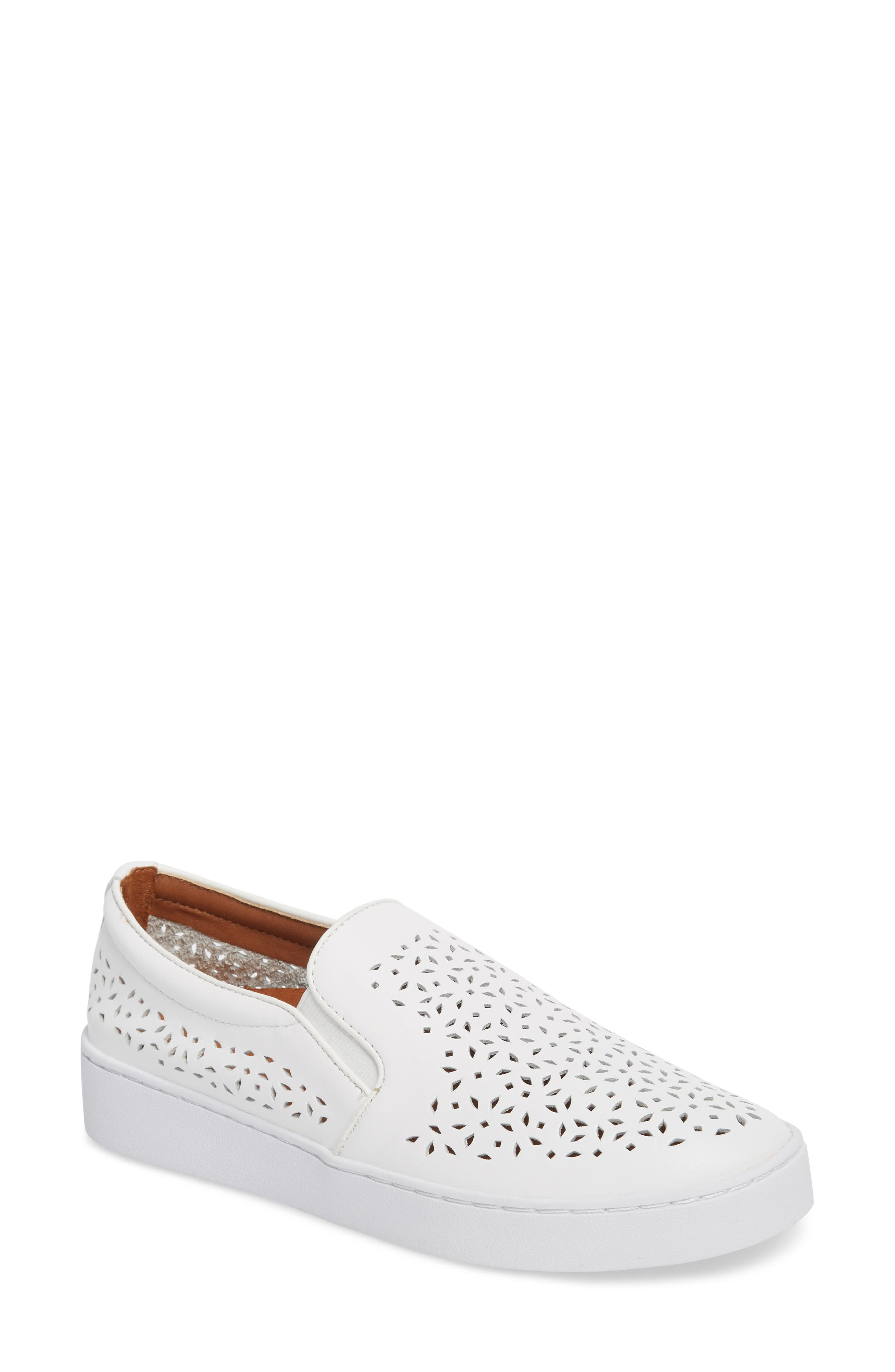 Perforated Slip-On Sneaker,                             Main thumbnail 1, color,                             WHITE LEATHER