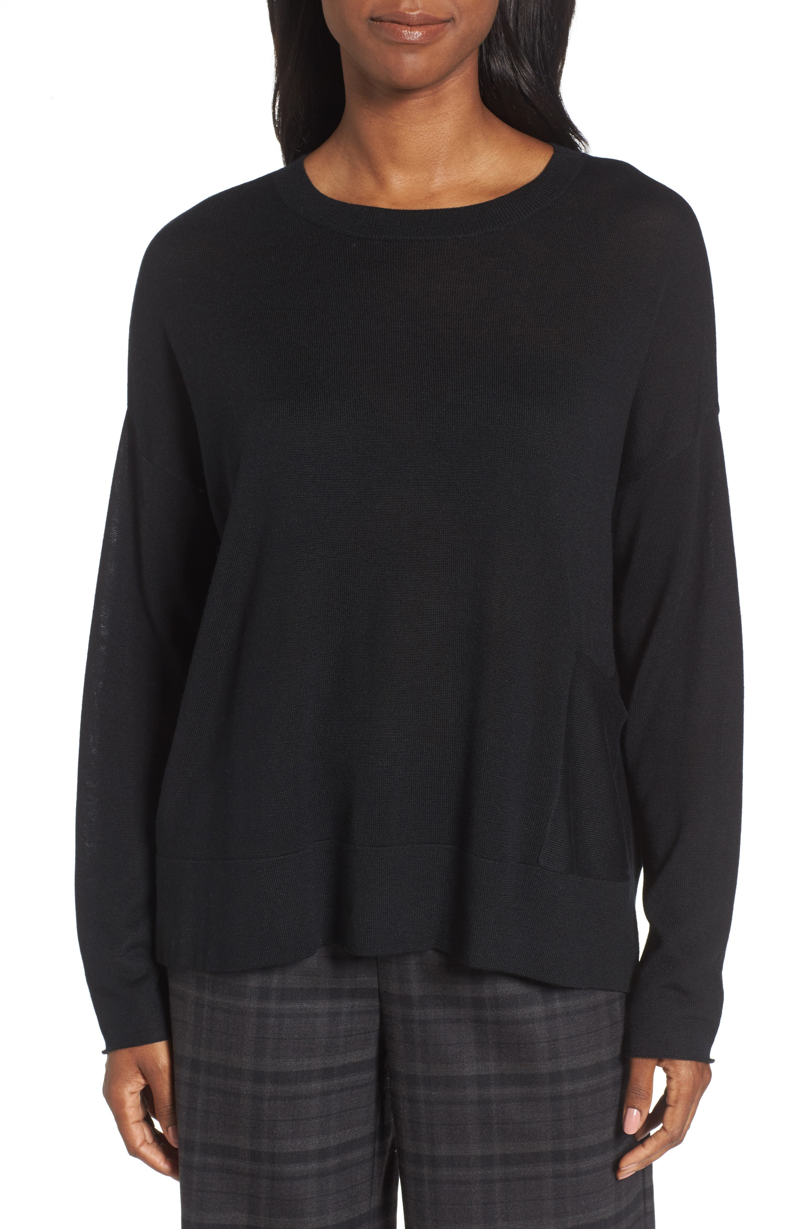 Tencel<sup>®</sup> Blend Sweater,                         Main,                         color, 001