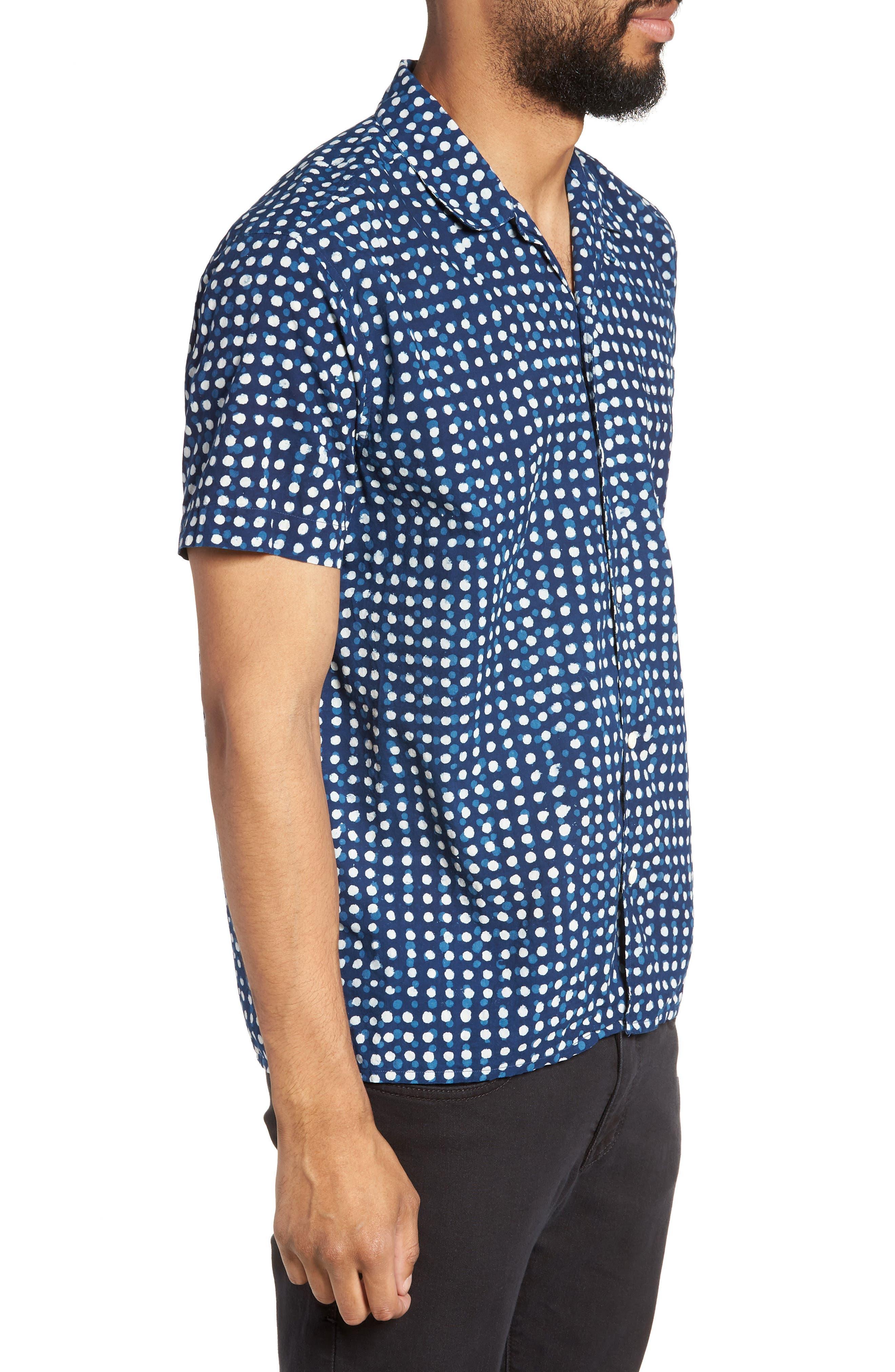 Malick Slim Fit Dot Sport Shirt,                             Alternate thumbnail 3, color,                             406