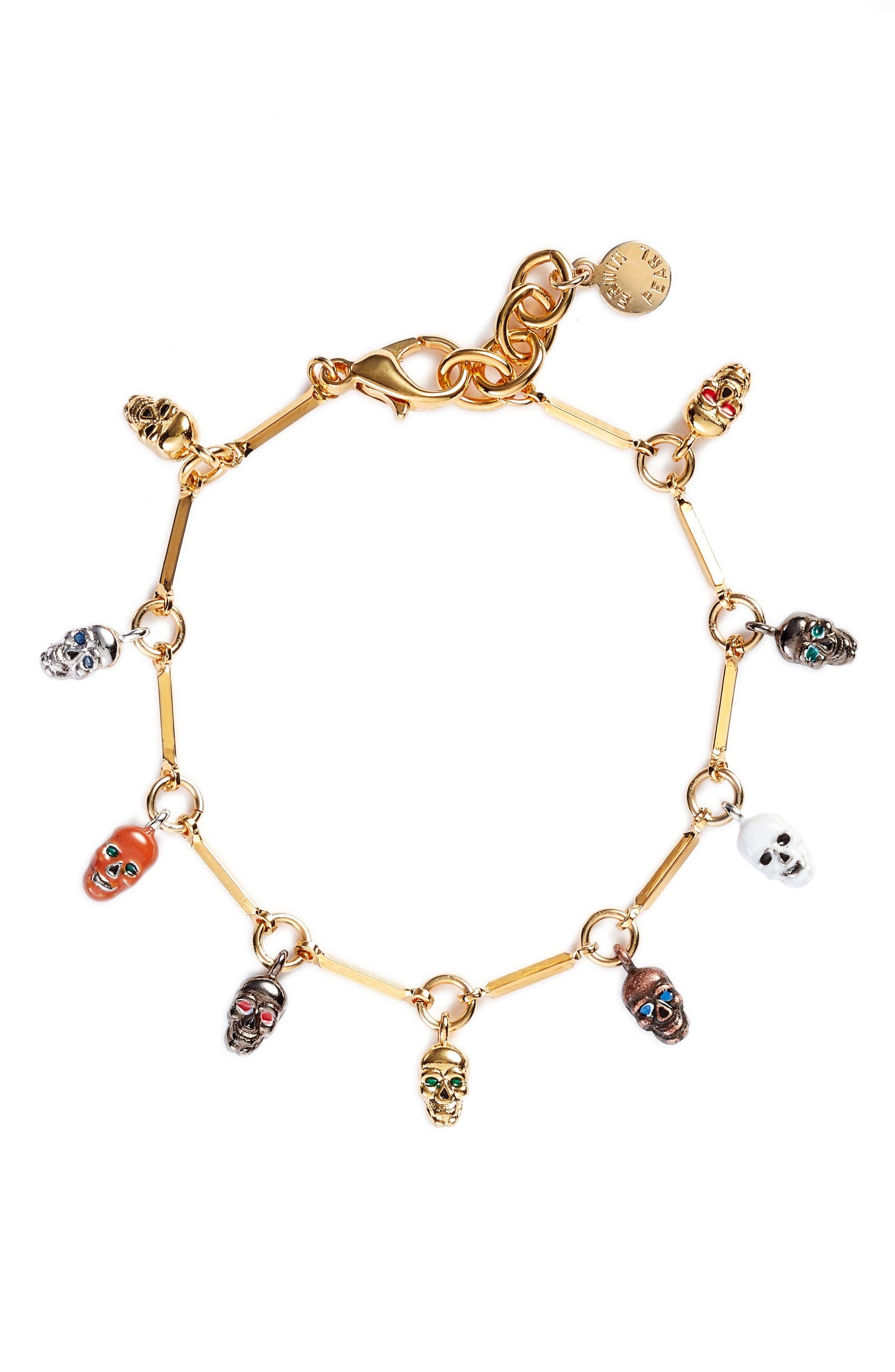 Skull Charm Bracelet, Main, color, GOLD