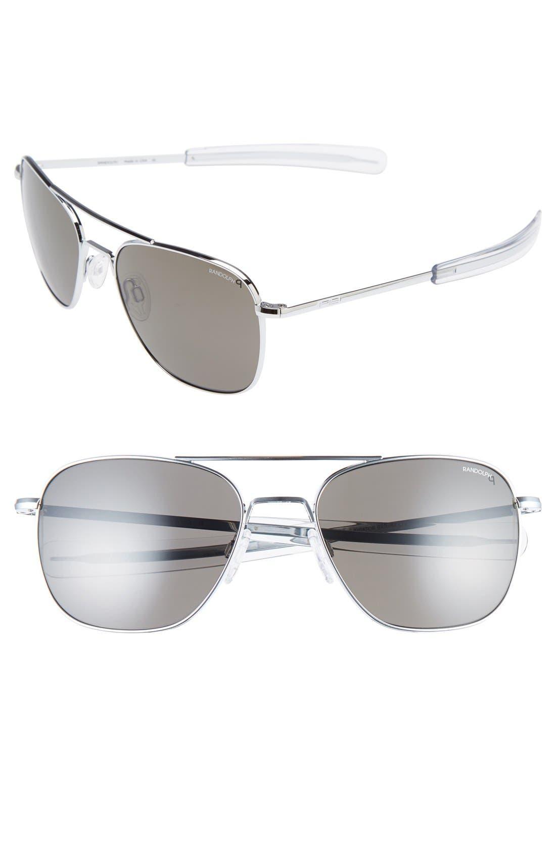 58mm Polarized Aviator Sunglasses,                         Main,                         color, 041