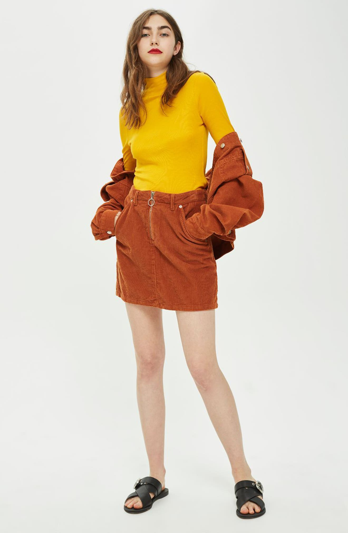 Cord Miniskirt,                             Alternate thumbnail 7, color,                             TOBACCO