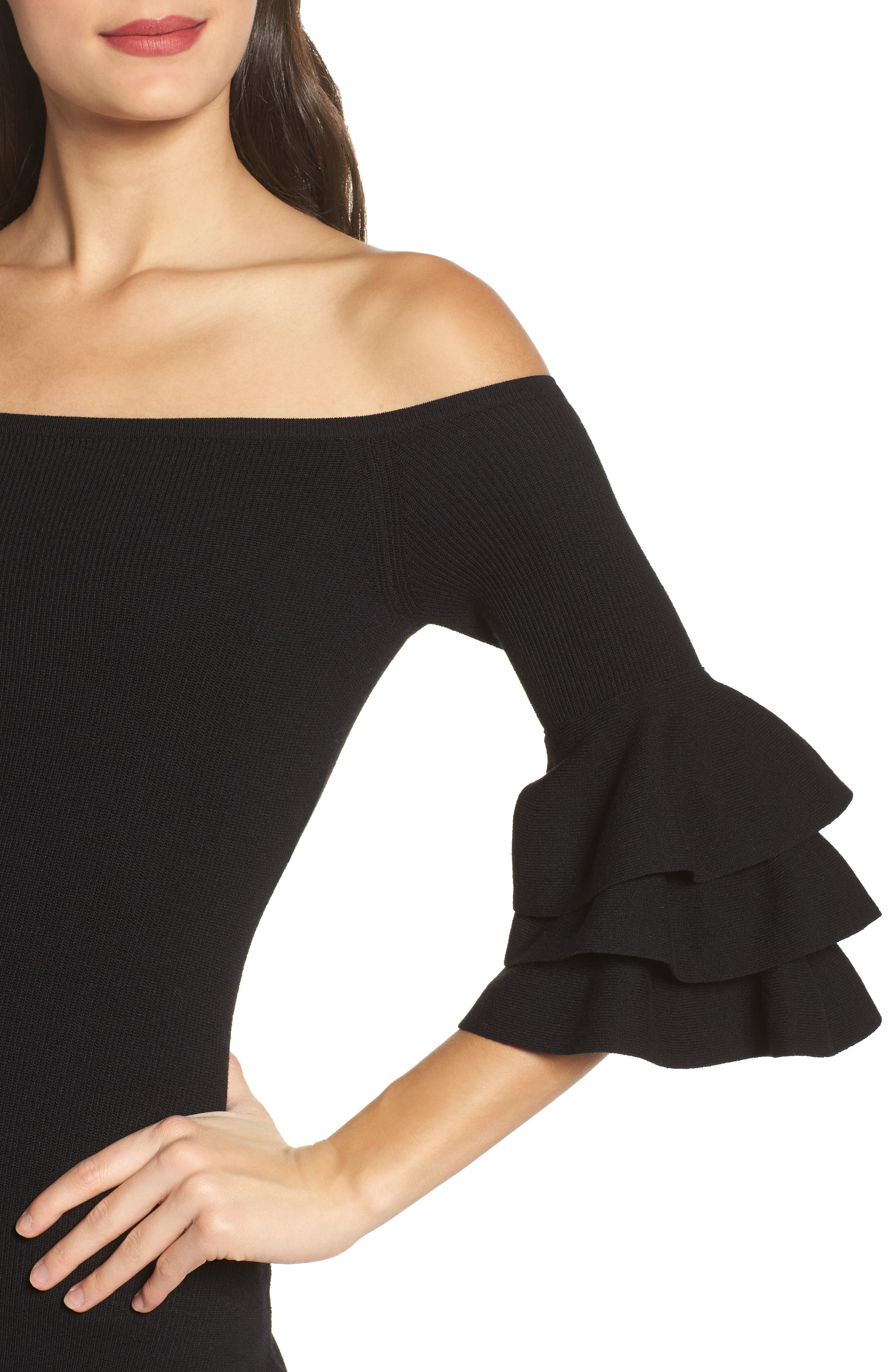 Off the Shoulder Midi Sweater Dress,                             Alternate thumbnail 4, color,                             001