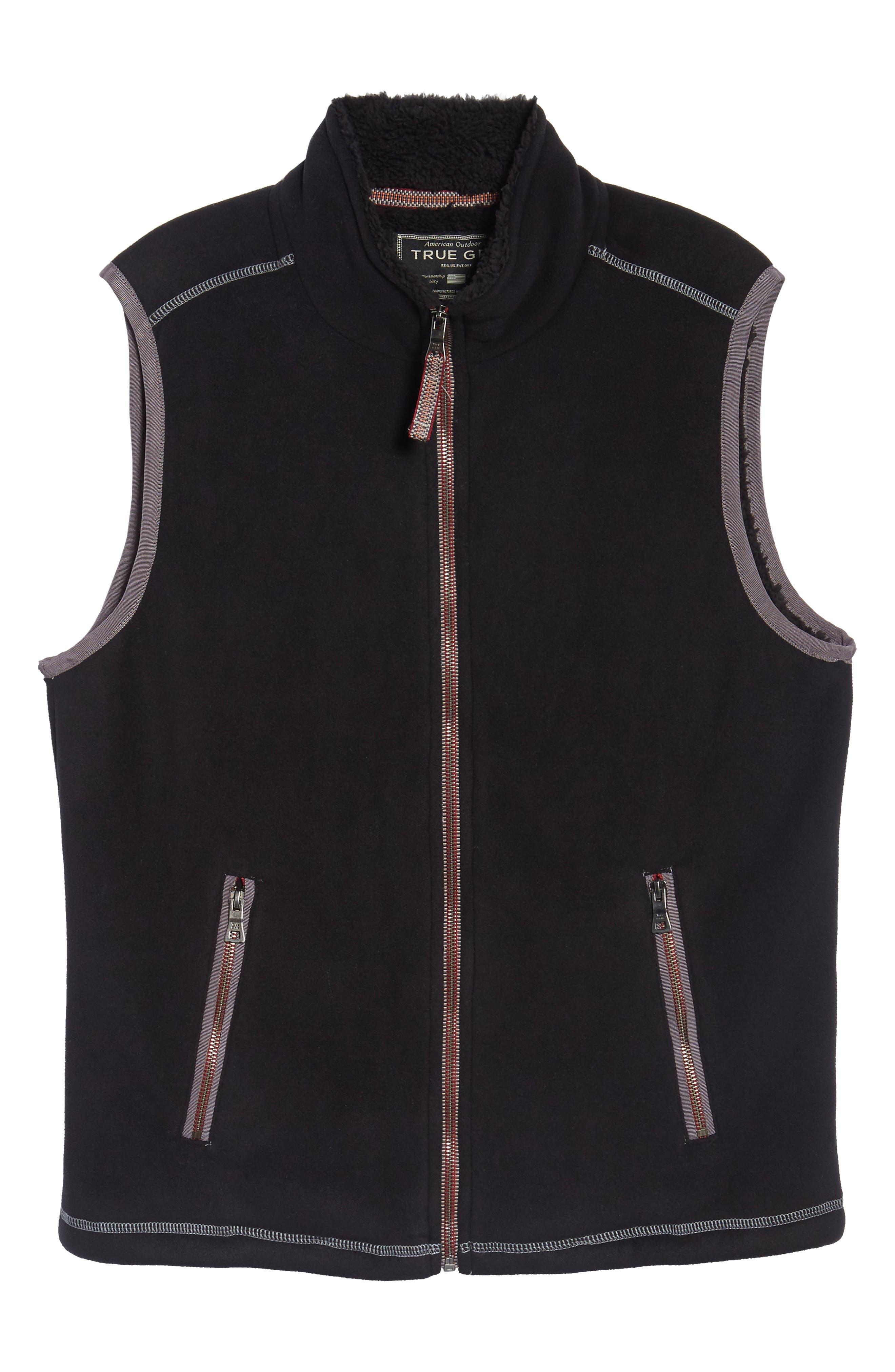 Bonded Fleece Zip Front Vest,                             Alternate thumbnail 5, color,                             001