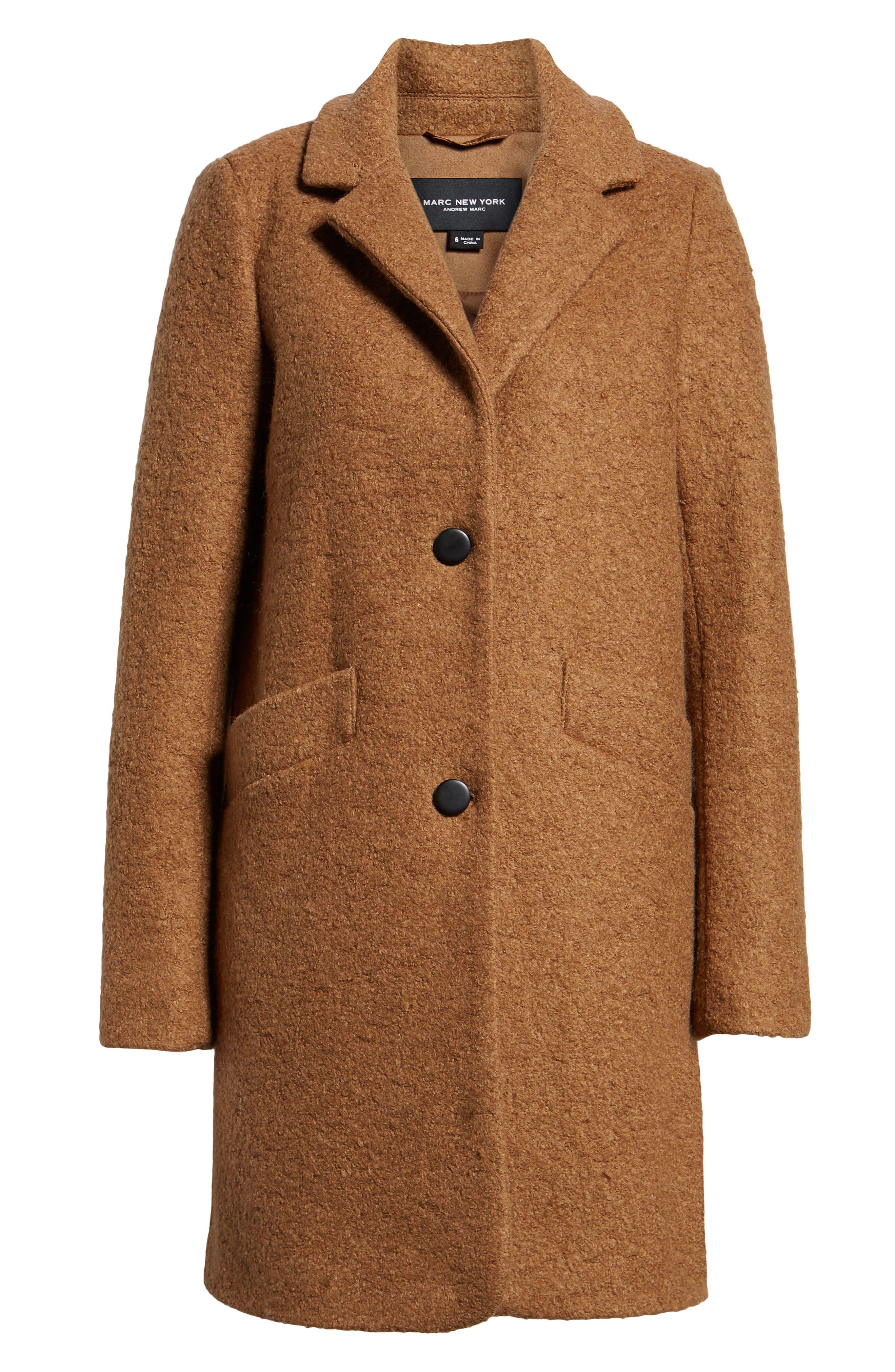 Pressed Bouclé Coat,                             Alternate thumbnail 6, color,                             CAMEL