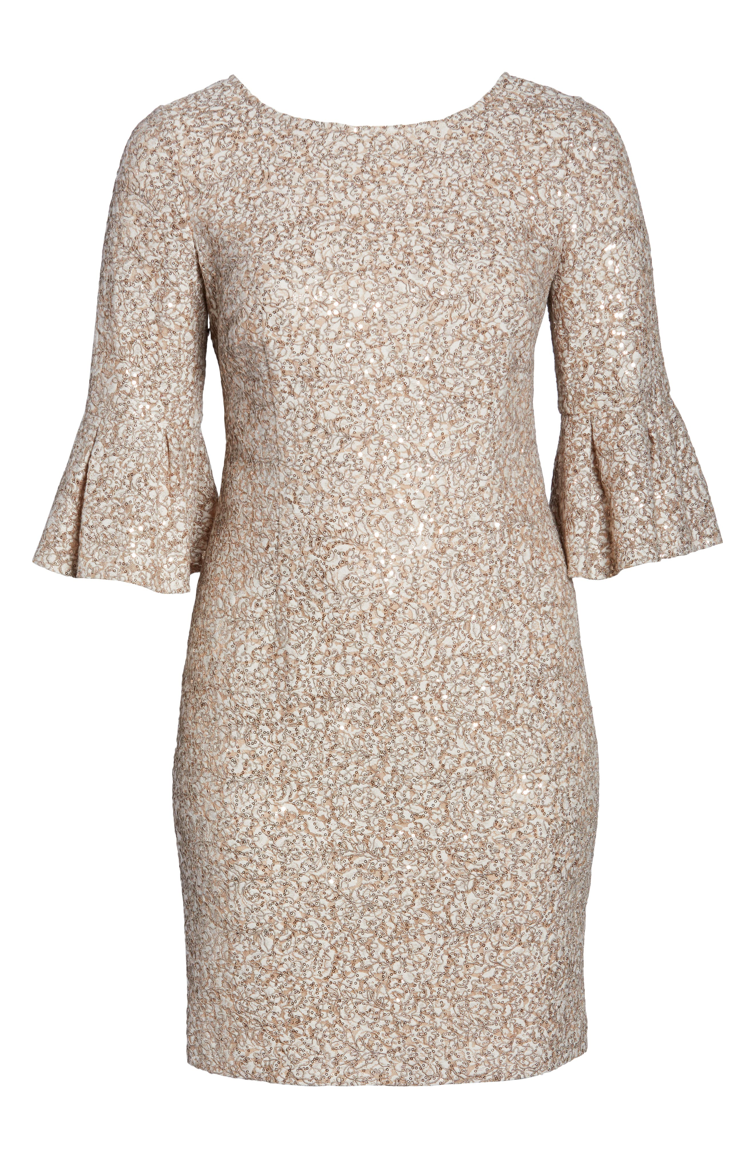 Embroidered Lace Shift Dress,                             Alternate thumbnail 6, color,                             CHAMPAGNE/ IVORY