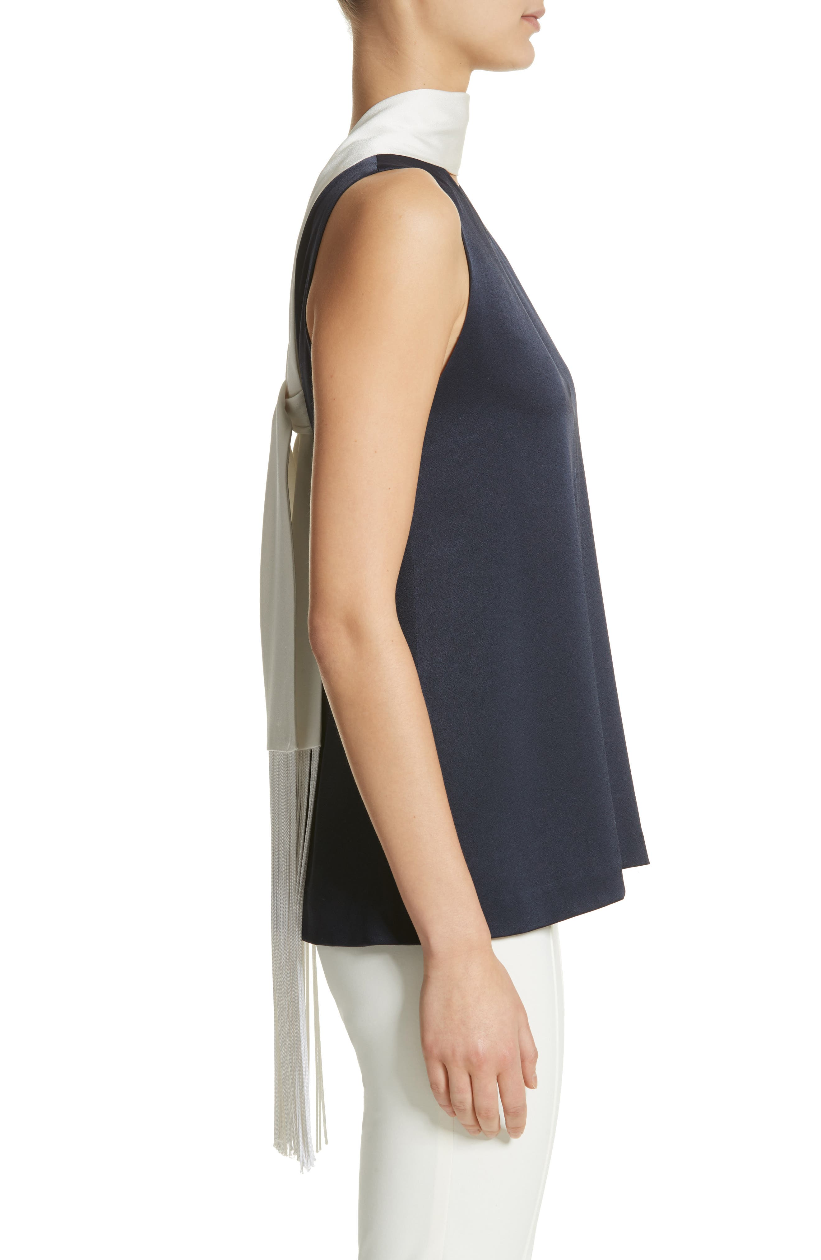 Scarf Detail Satin Back Crepe Top,                             Alternate thumbnail 3, color,                             MIDNIGHT W/ WHITE