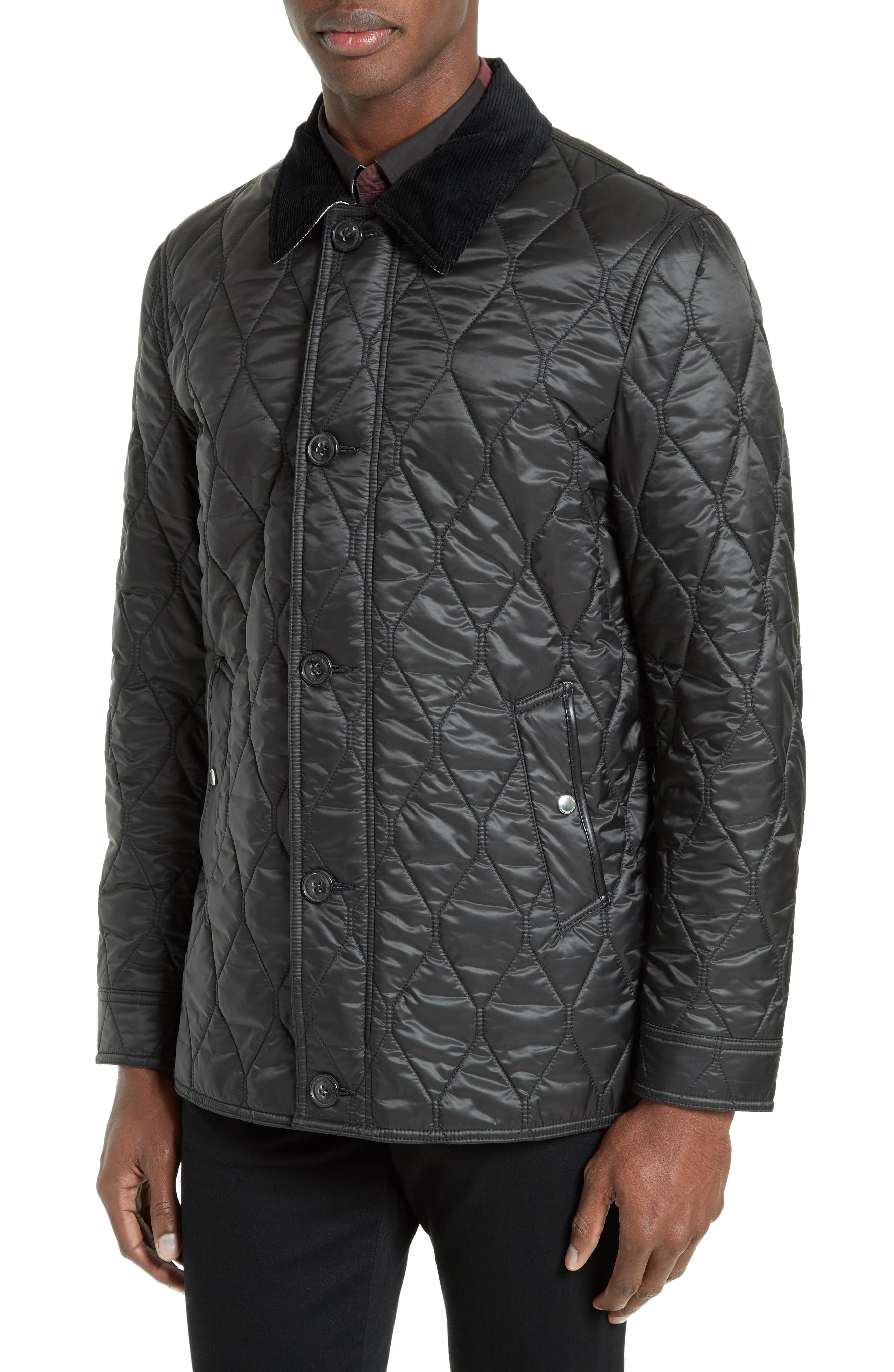 Gransworth Leather Elbow Patch Quilted Jacket,                             Alternate thumbnail 4, color,                             001