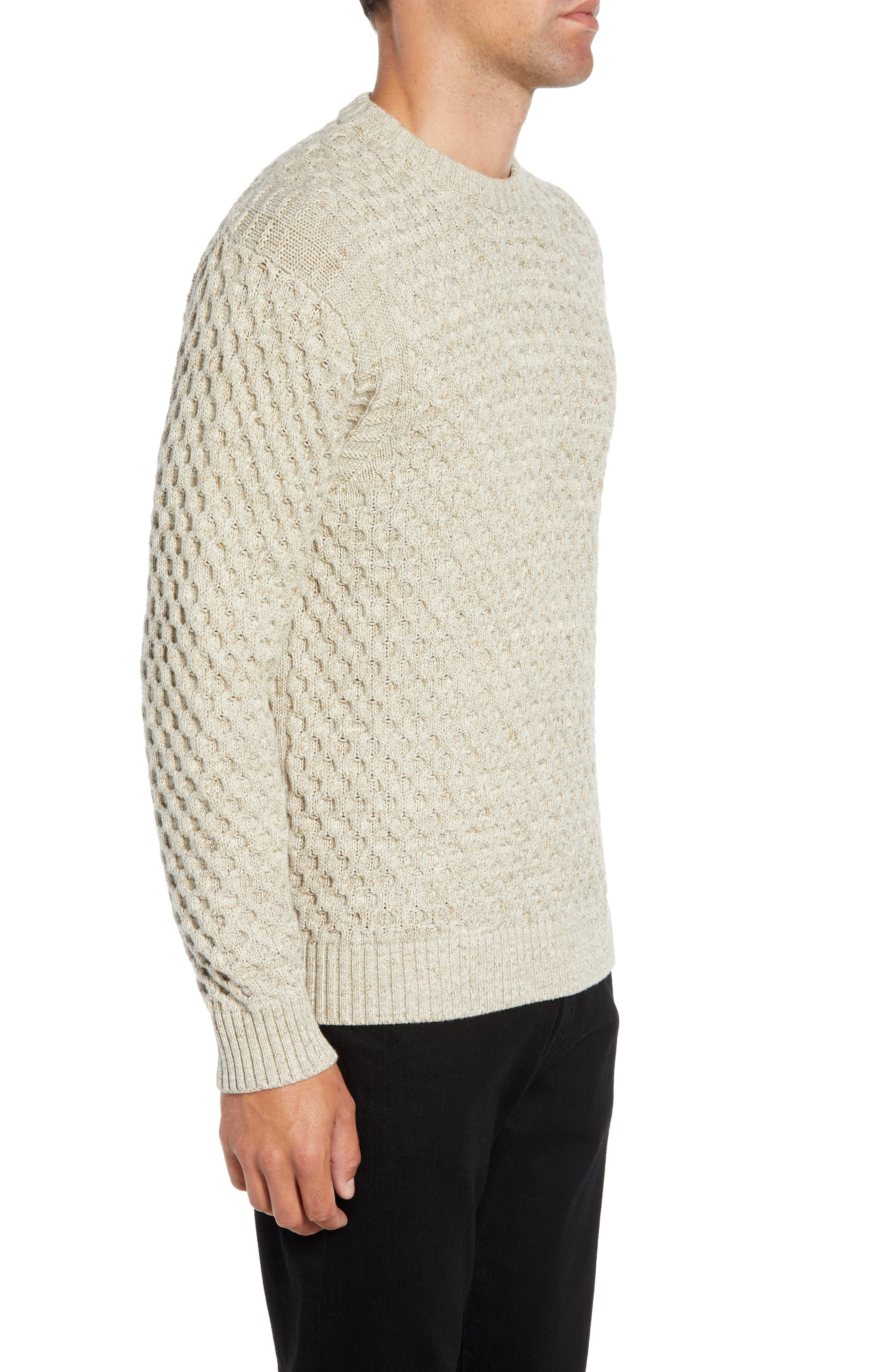 Ethan Fisherman Cable Sweater,                             Alternate thumbnail 3, color,                             CREAM