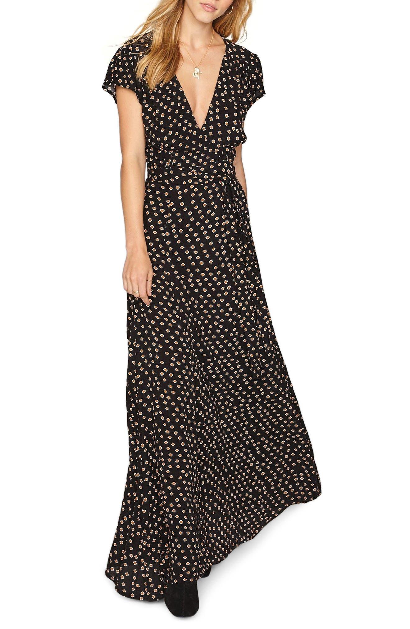 Beachscape Maxi Wrap Dress,                             Main thumbnail 1, color,                             001
