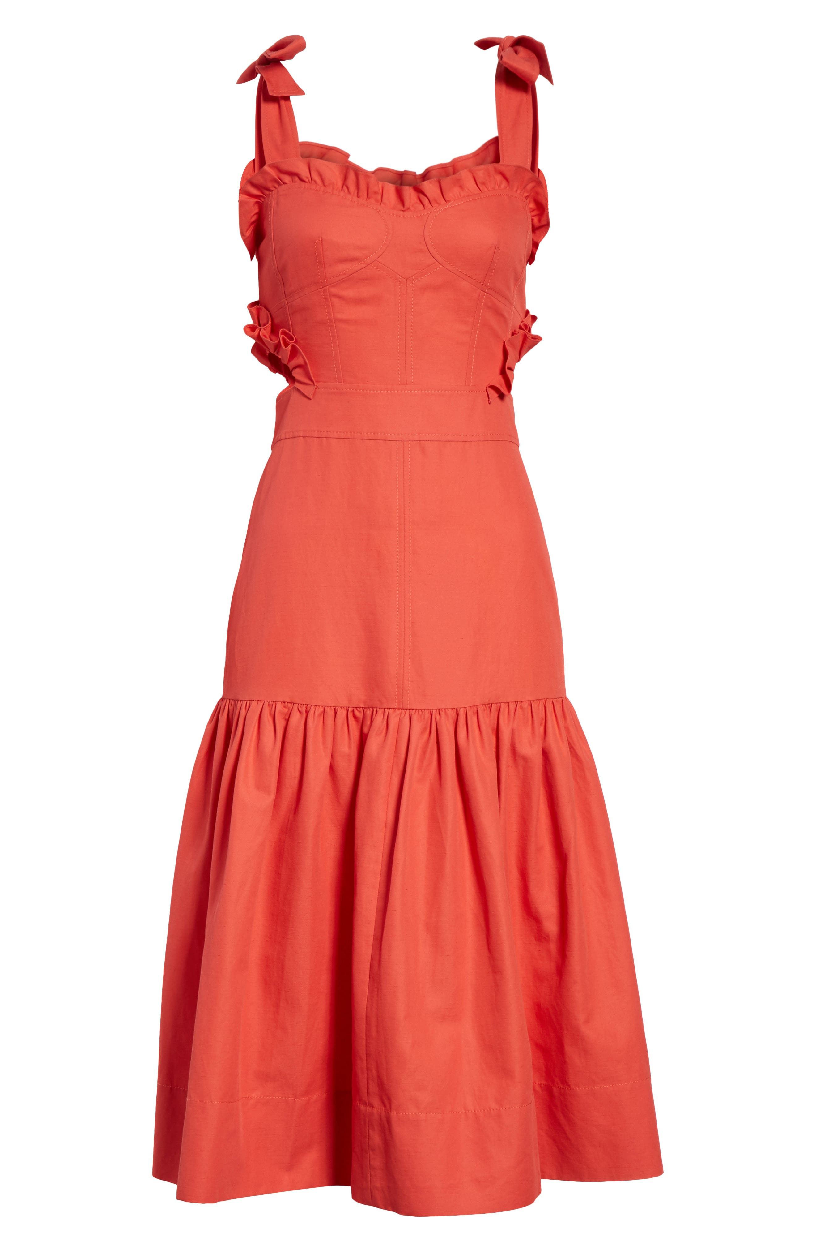 Sleeveless Ruffle Hem Dress,                             Alternate thumbnail 6, color,                             601