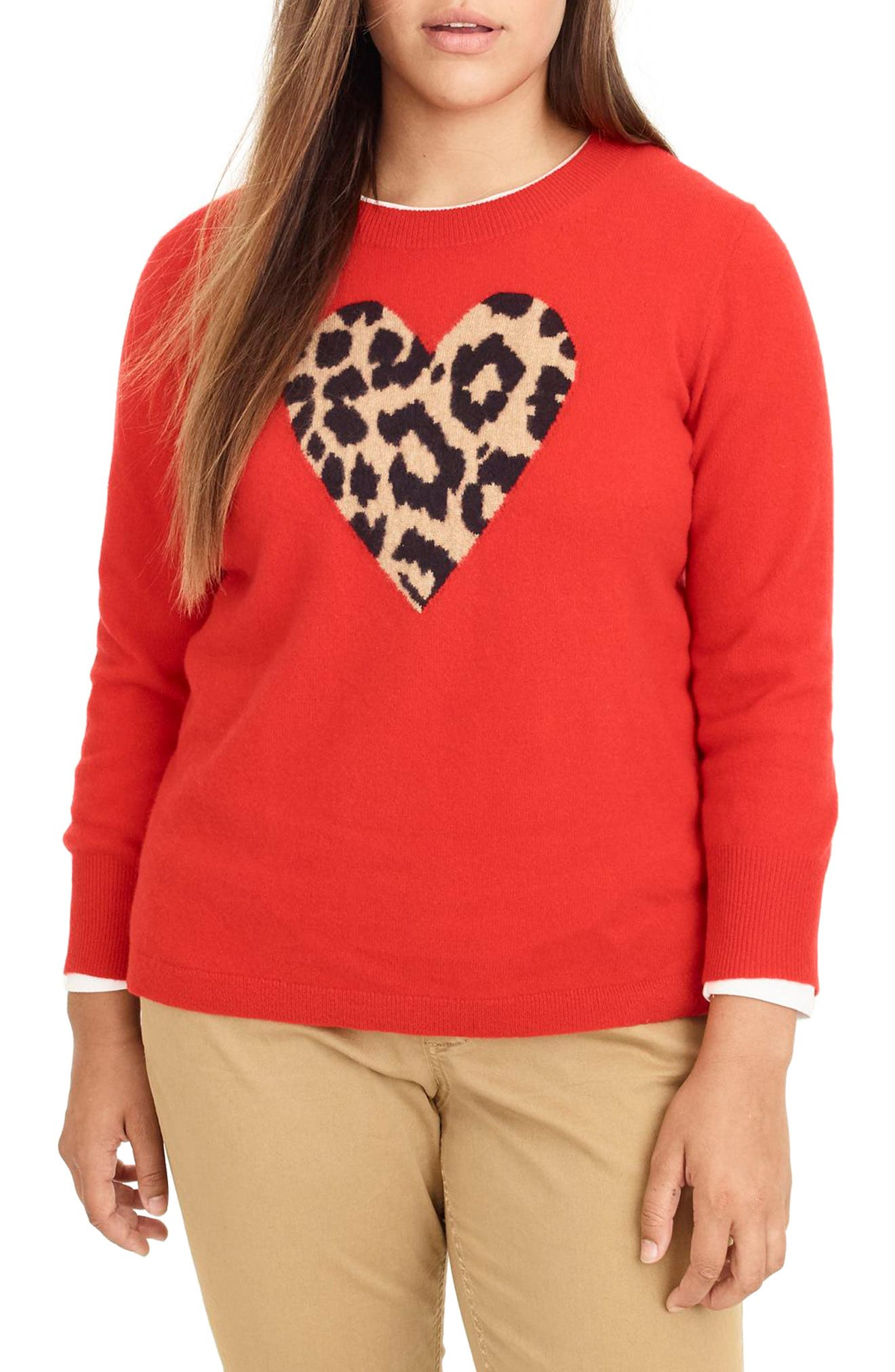 Leopard Heart Everyday Cashmere Sweater,                             Alternate thumbnail 2, color,                             600