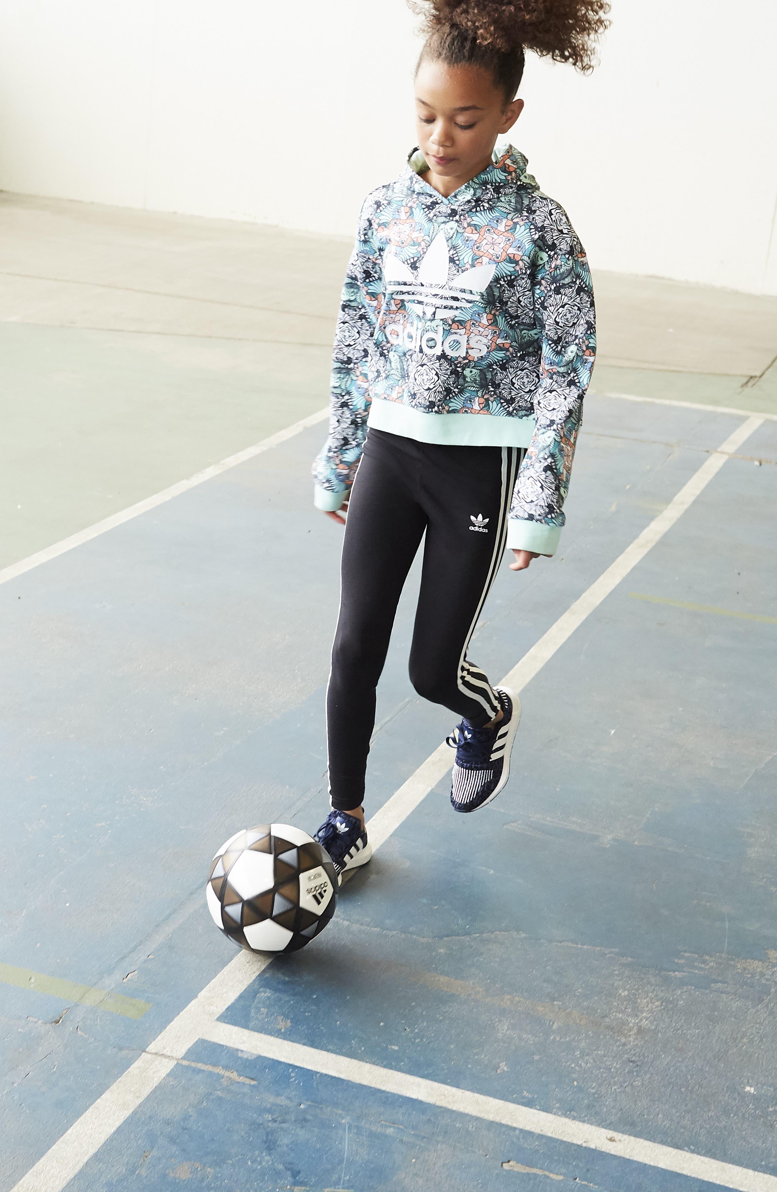 adidas 3-Stripes Leggings,                             Alternate thumbnail 4, color,                             BLACK / WHITE