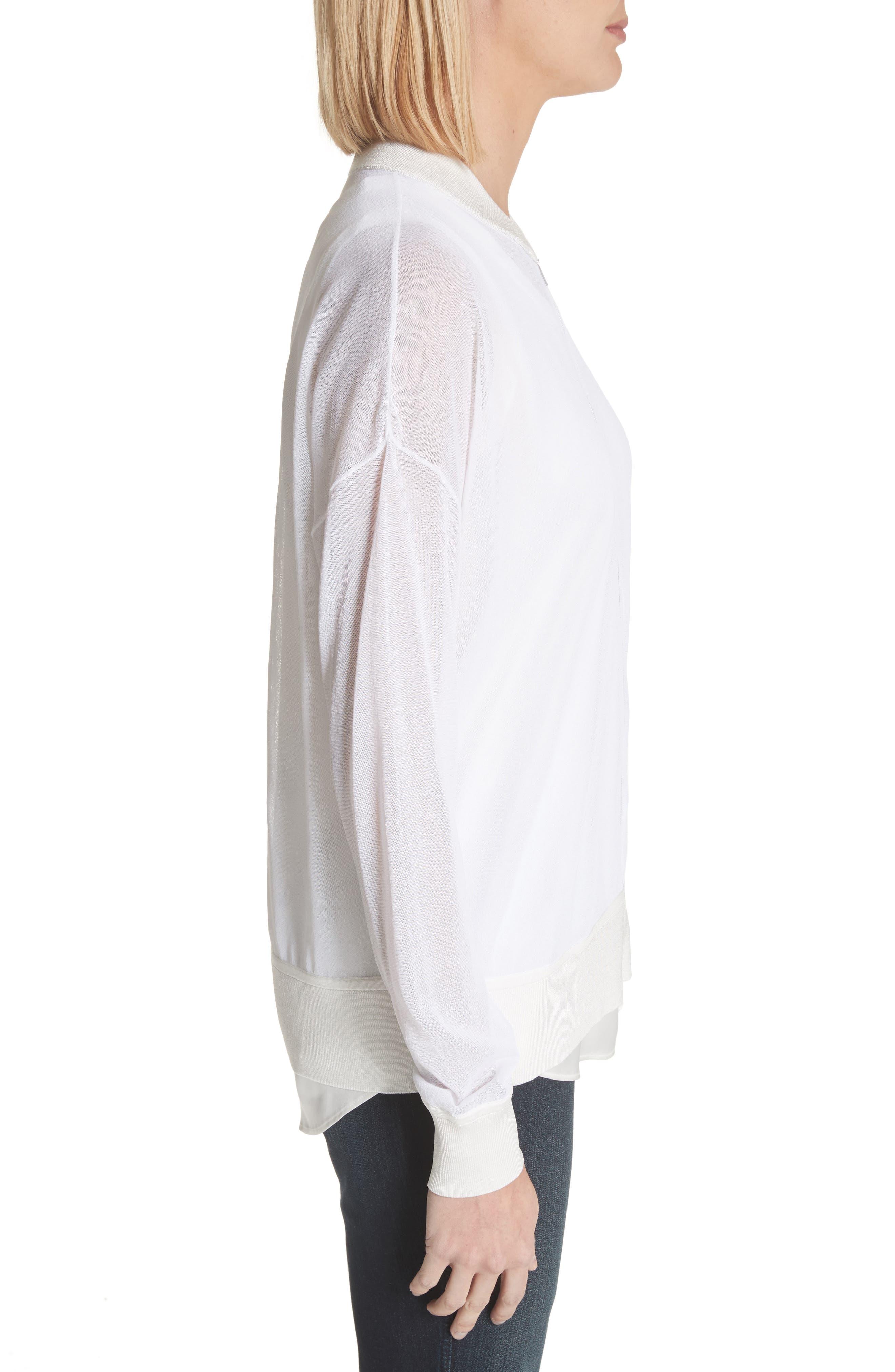 Ethereal Sheer Knit Bomber Jacket,                             Alternate thumbnail 3, color,                             100