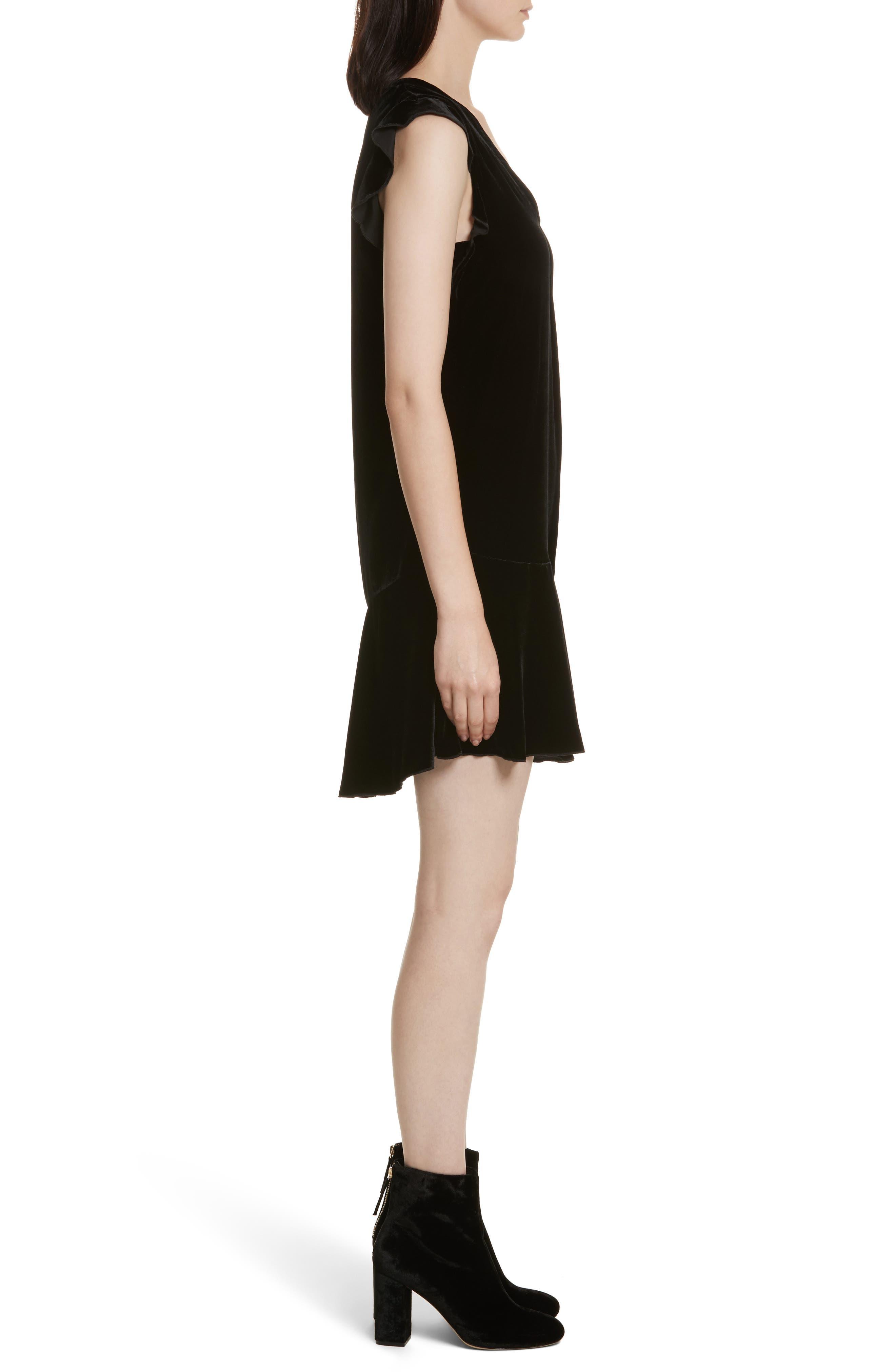 Almarie Velvet Shift Dress,                             Alternate thumbnail 3, color,                             002