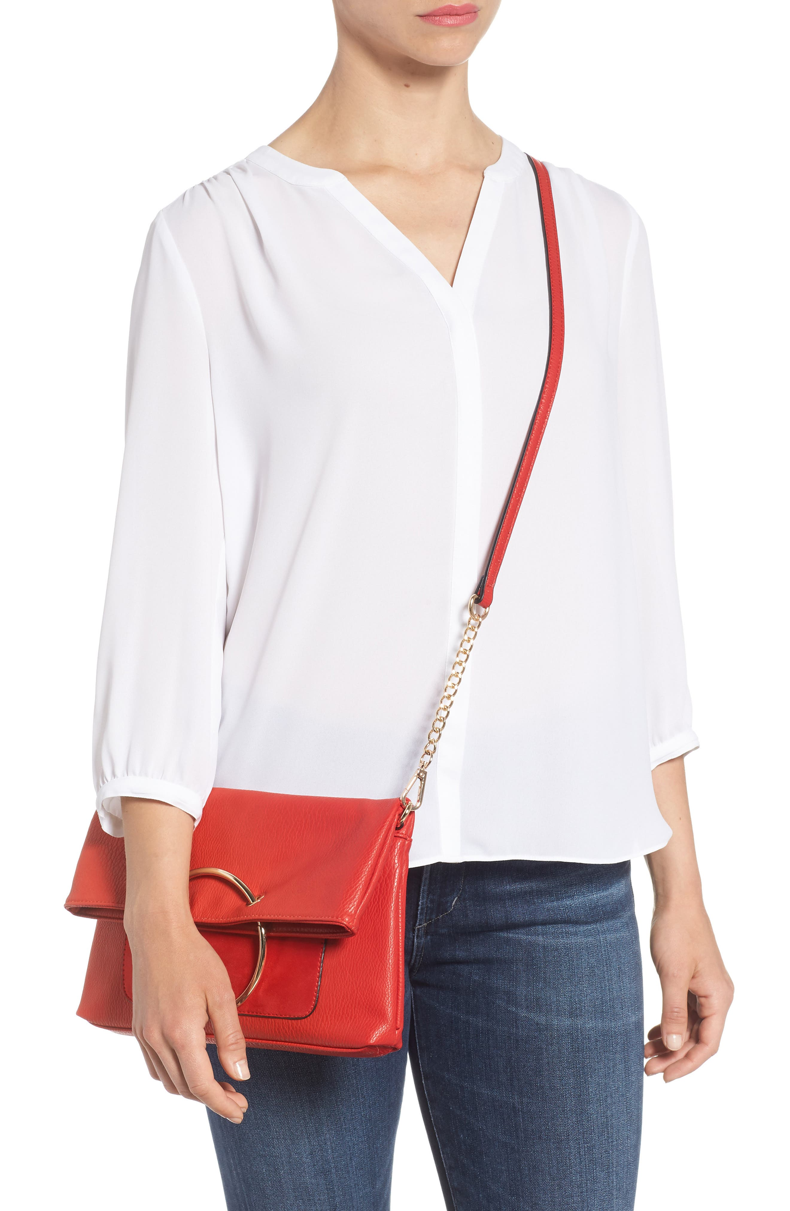Foldover Ring Clutch,                             Alternate thumbnail 2, color,                             RED