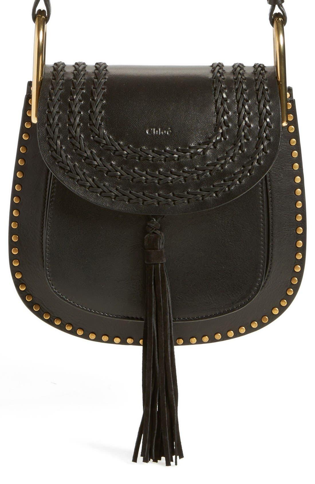 CHLOÉ 'Small Hudson' Studded Calfskin Leather Crossbody Bag, Main, color, 001