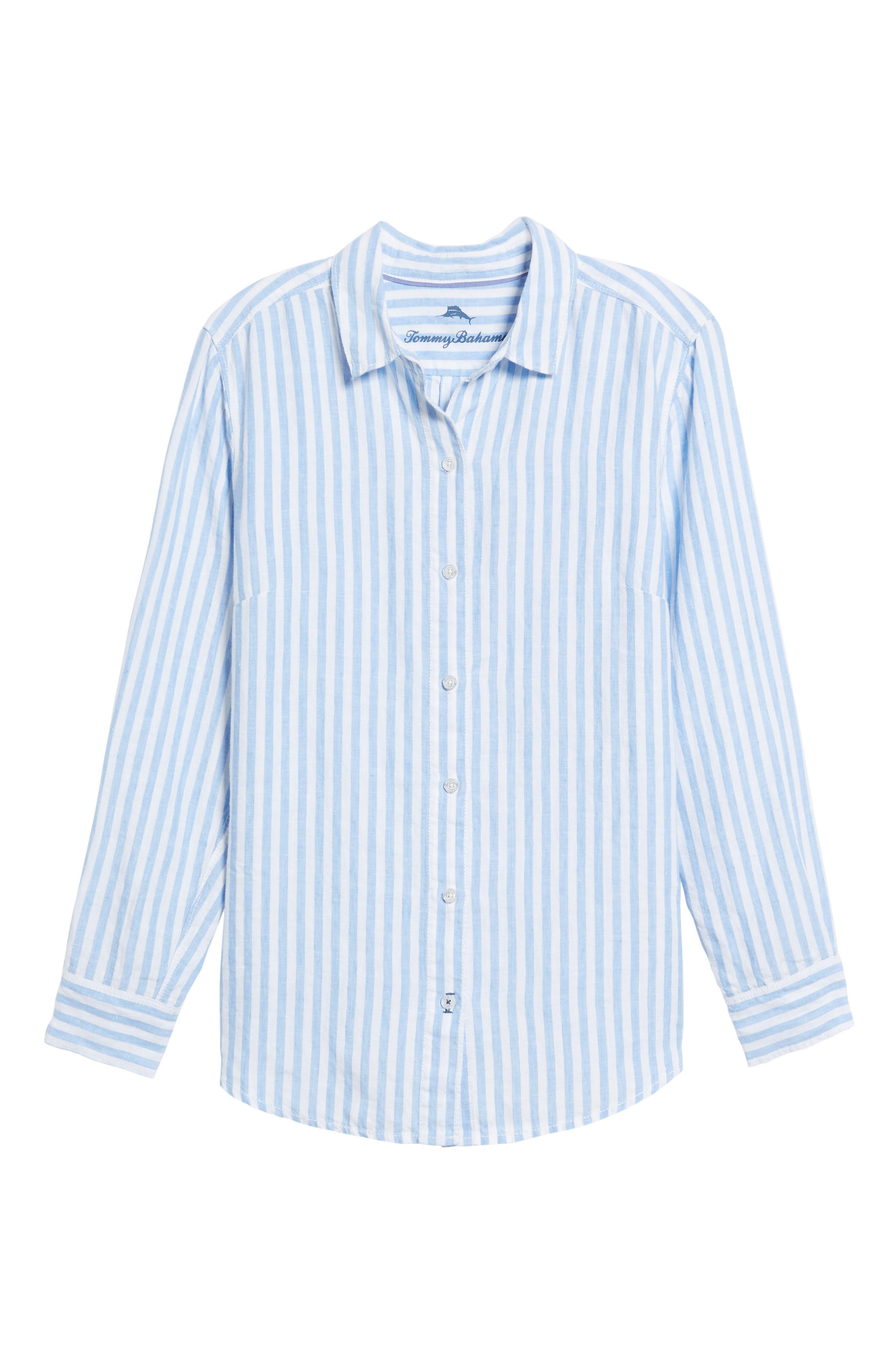 Cabana Stripe Button-Up Top,                             Alternate thumbnail 6, color,                             DUSTY LUPINE