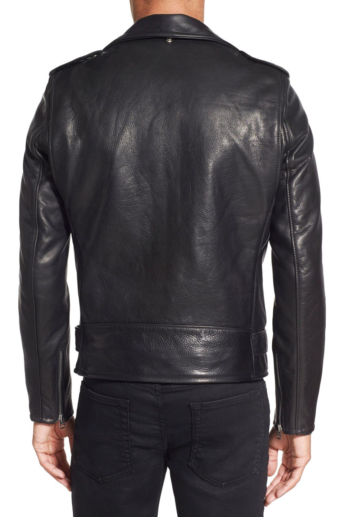 '50s Oil Tanned Cowhide Leather Moto Jacket,                             Alternate thumbnail 8, color,                             BLACK