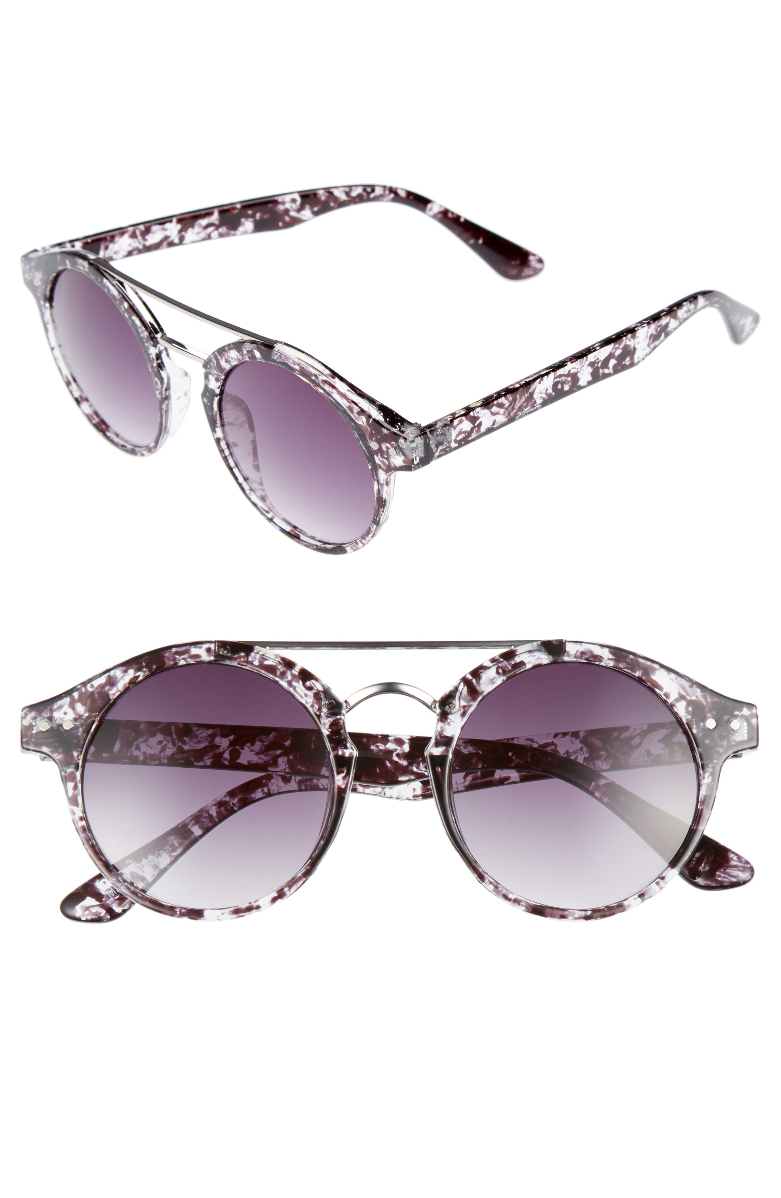 45mm Round Sunglasses,                             Main thumbnail 1, color,                             001
