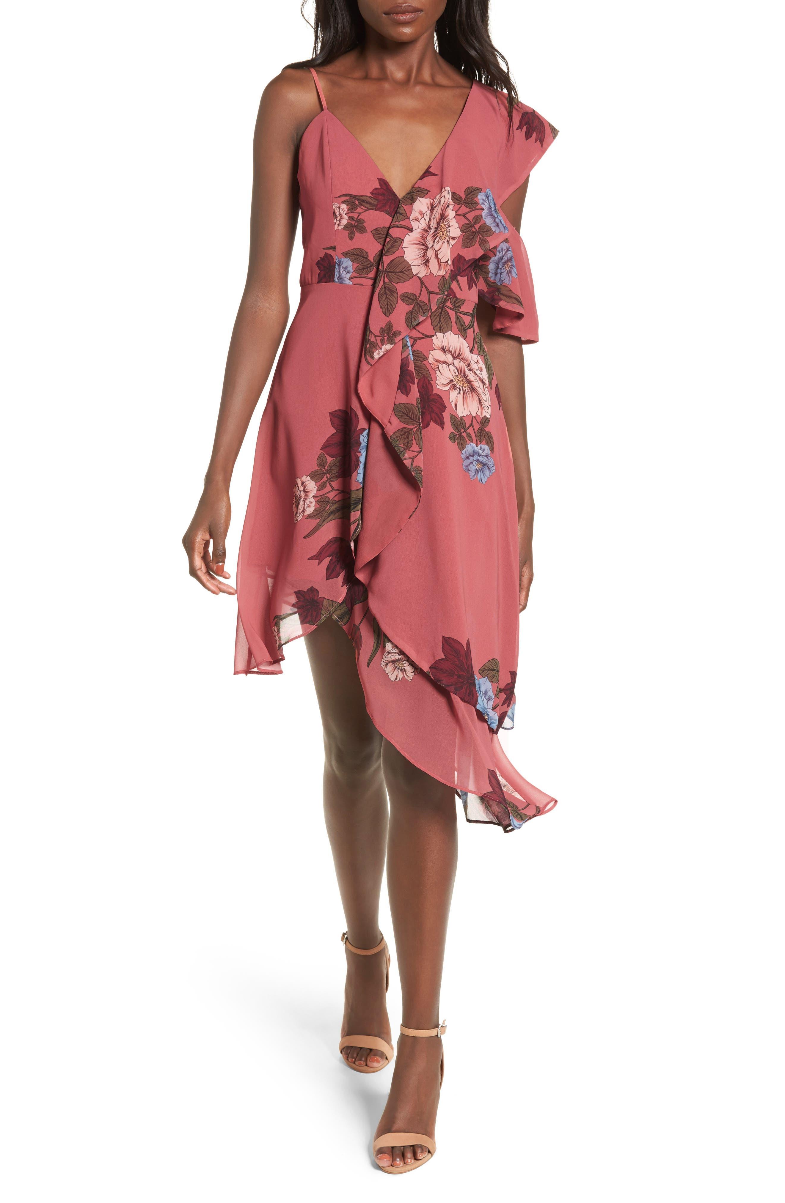 Night Lights Ruffle Dress,                         Main,                         color, 800