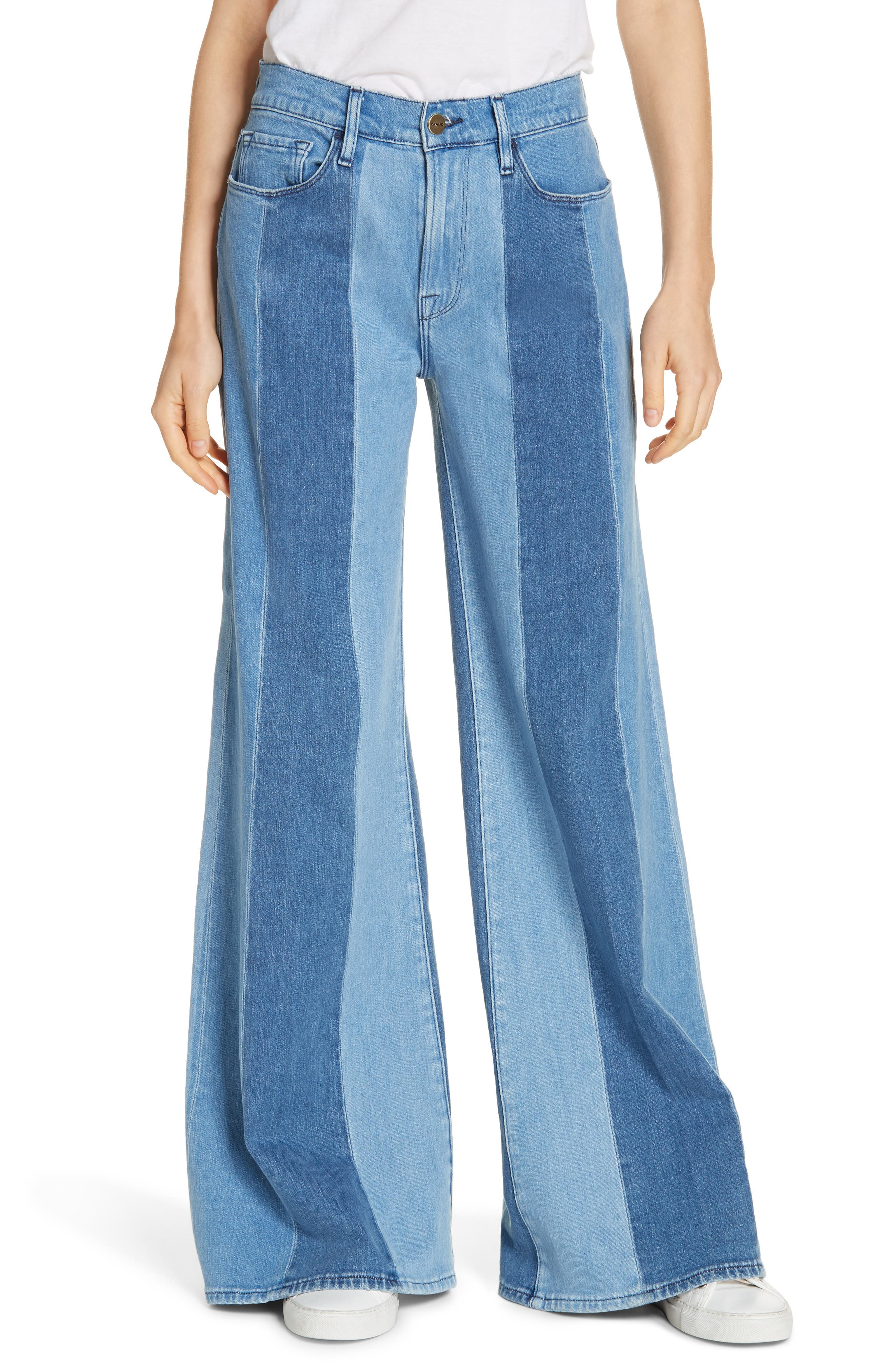 Le Palazzo Paneled Wide Leg Jeans,                             Main thumbnail 1, color,                             VINEYARD