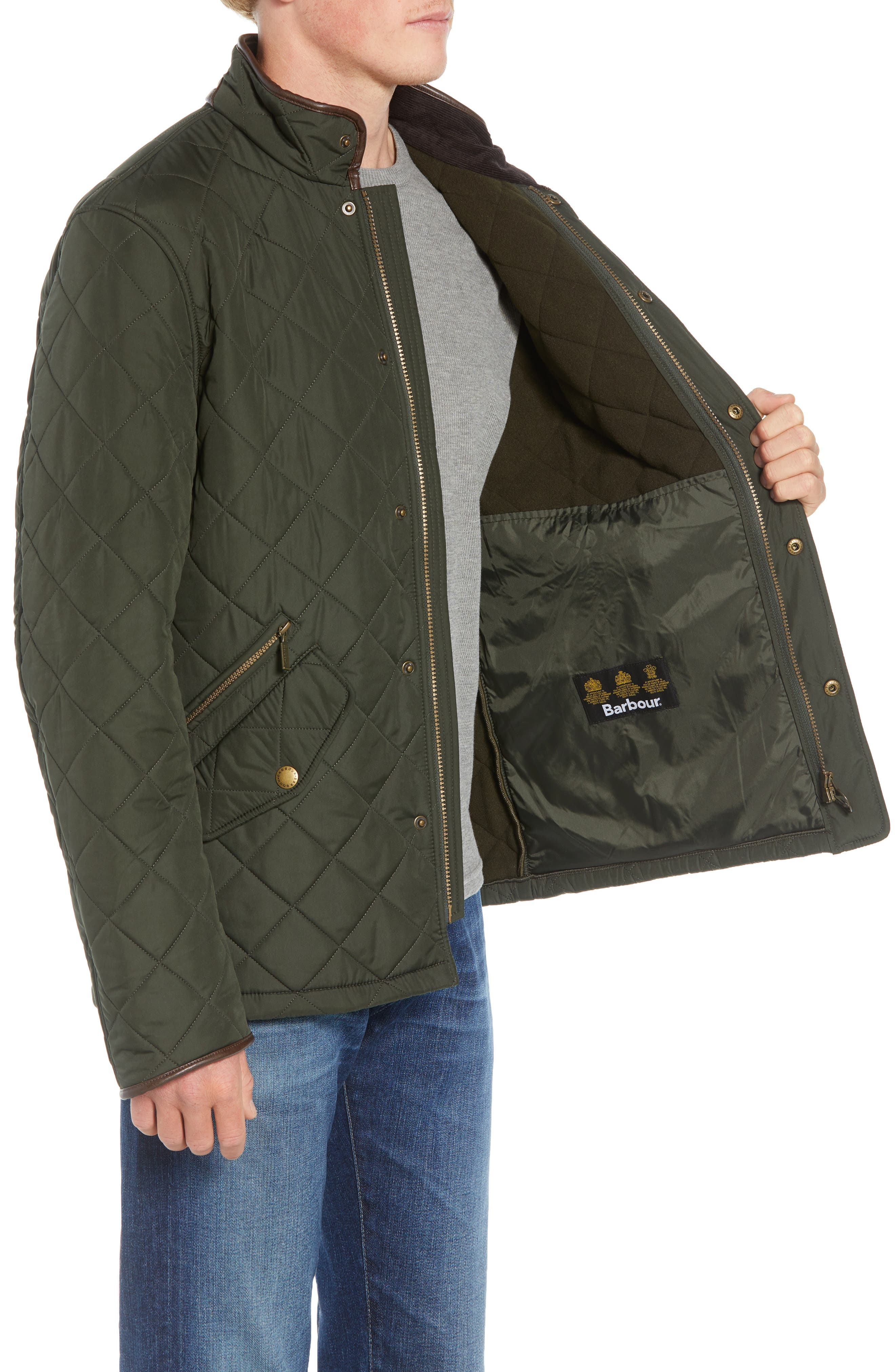 'Powell' Regular Fit Quilted Jacket,                             Alternate thumbnail 3, color,                             SAGE/ OLIVE