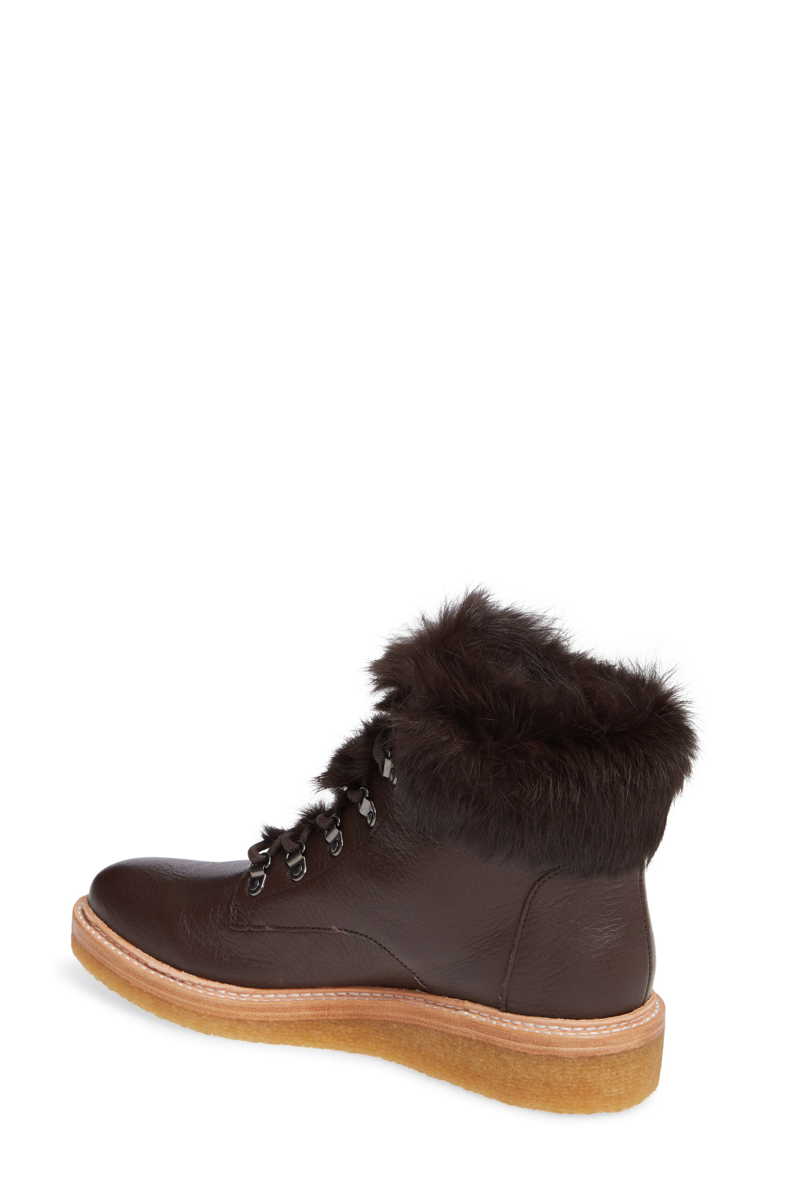 Winter Genuine Rabbit Fur Trim Boot,                             Alternate thumbnail 2, color,                             MOCHA LEATHER