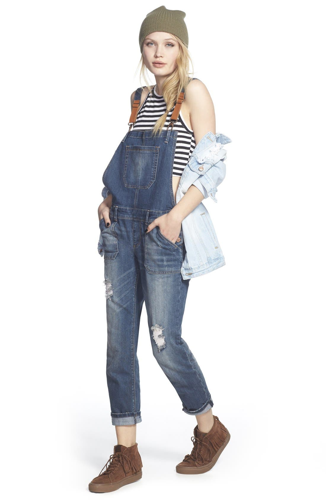 'Daryl' Distressed Denim Overalls,                             Alternate thumbnail 2, color,