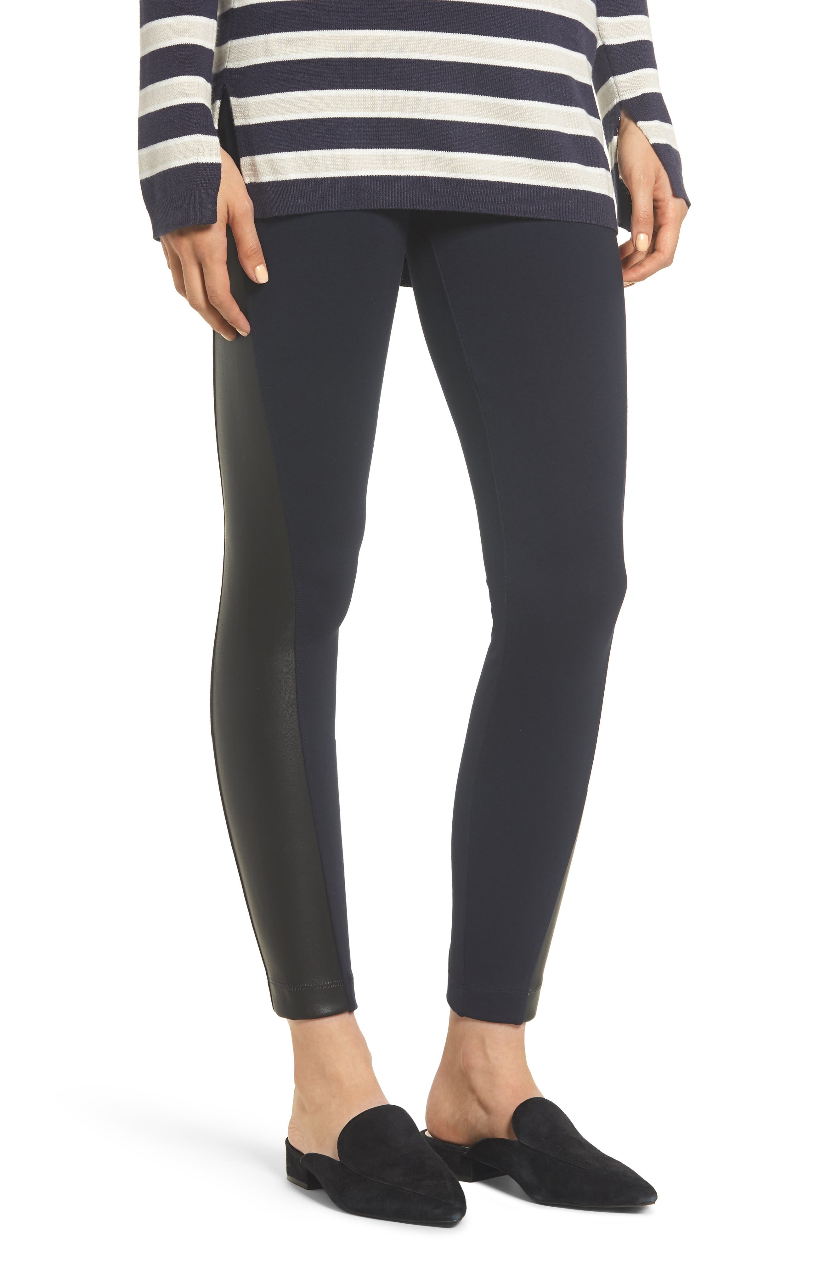Gemma Faux-Leather Panel Ankle Leggings,                             Main thumbnail 1, color,                             MIDNIGHT