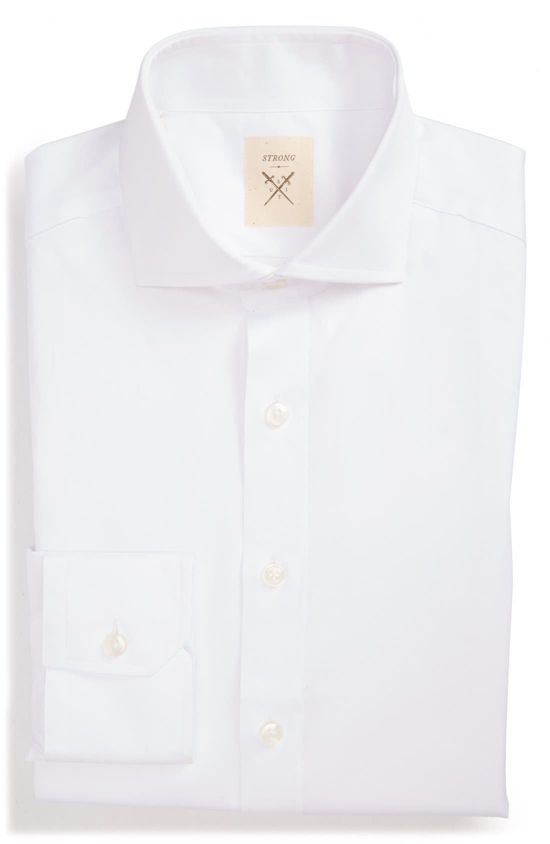 Trim Fit Solid Twill Dress Shirt,                             Main thumbnail 1, color,                             100