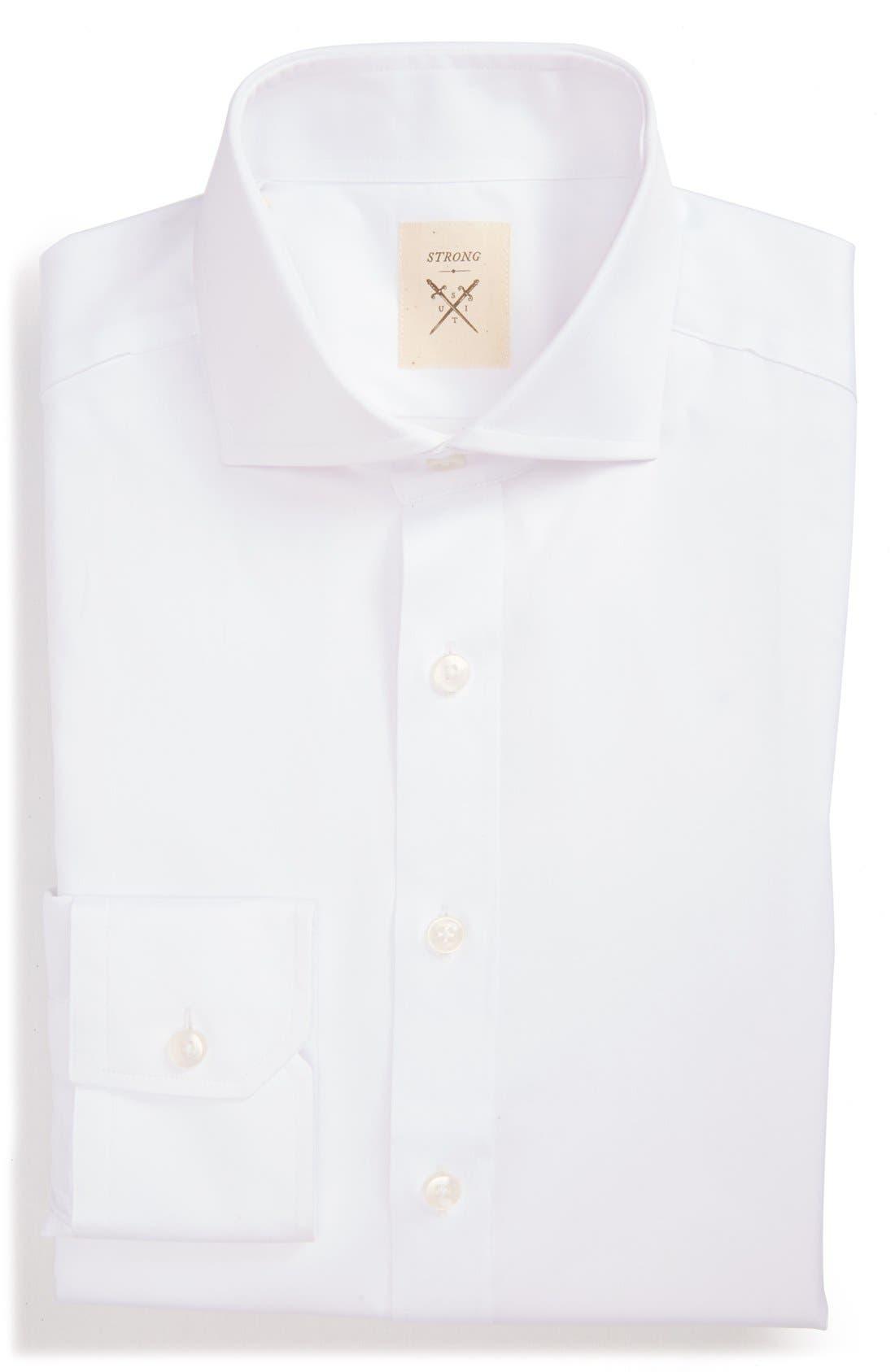 Trim Fit Solid Twill Dress Shirt,                         Main,                         color, 100