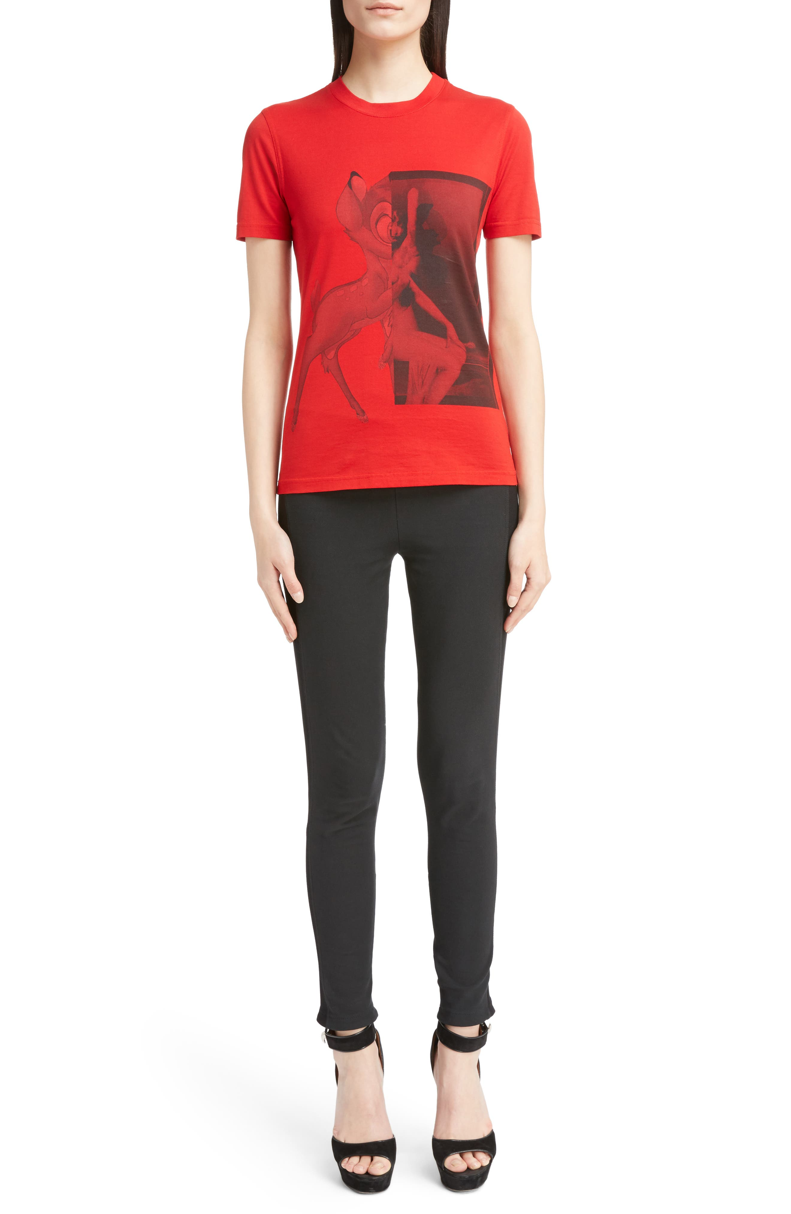 Bambi Cotton Tee,                             Alternate thumbnail 6, color,                             RED